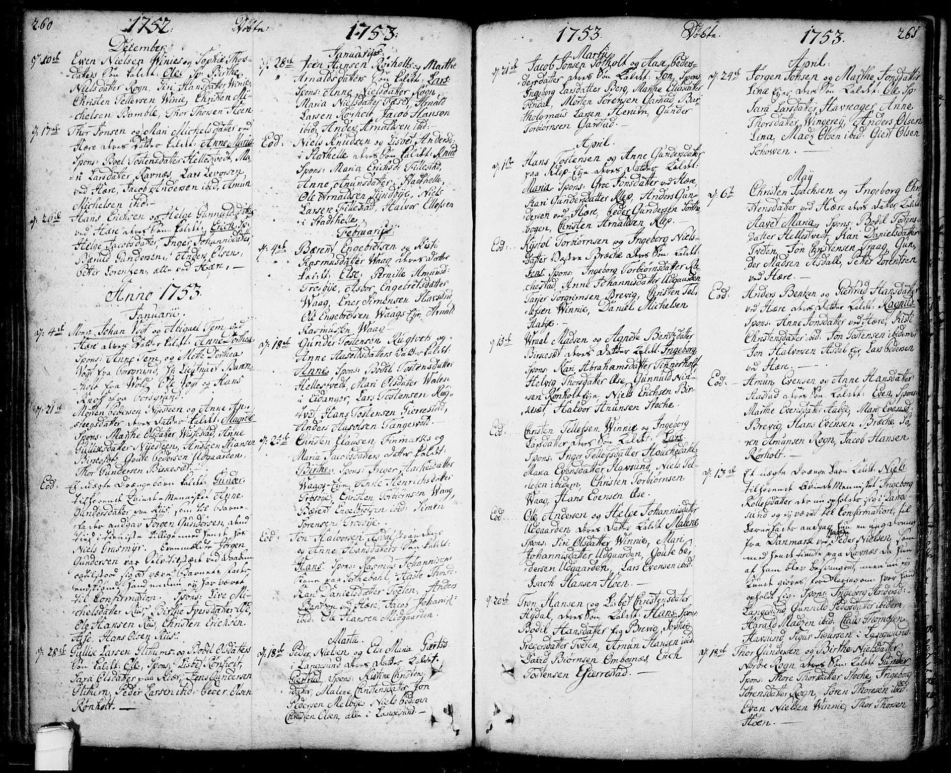 SAKO, Bamble kirkebøker, F/Fa/L0001: Ministerialbok nr. I 1, 1702-1774, s. 260-261