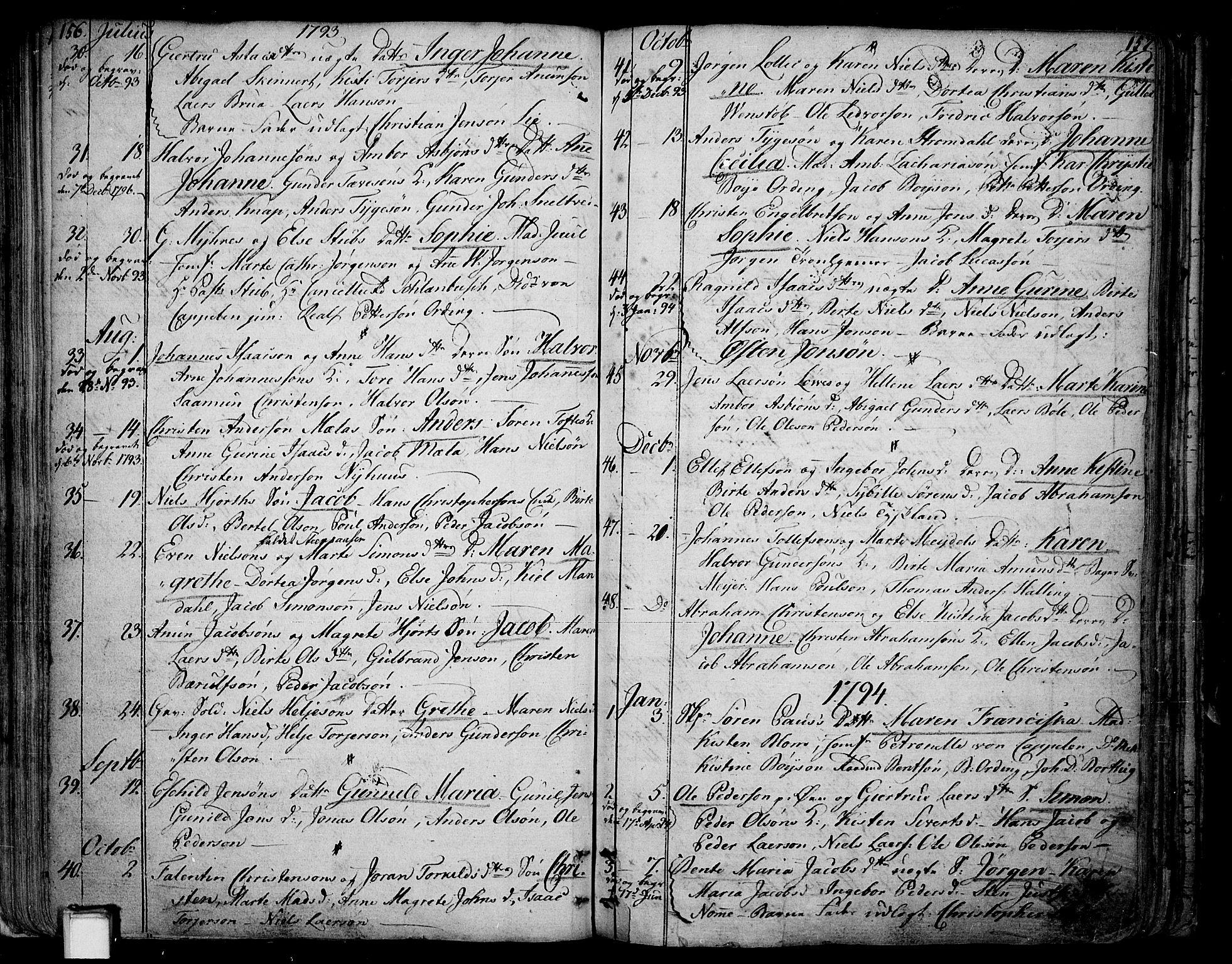 SAKO, Skien kirkebøker, F/Fa/L0004: Ministerialbok nr. 4, 1792-1814, s. 156-157