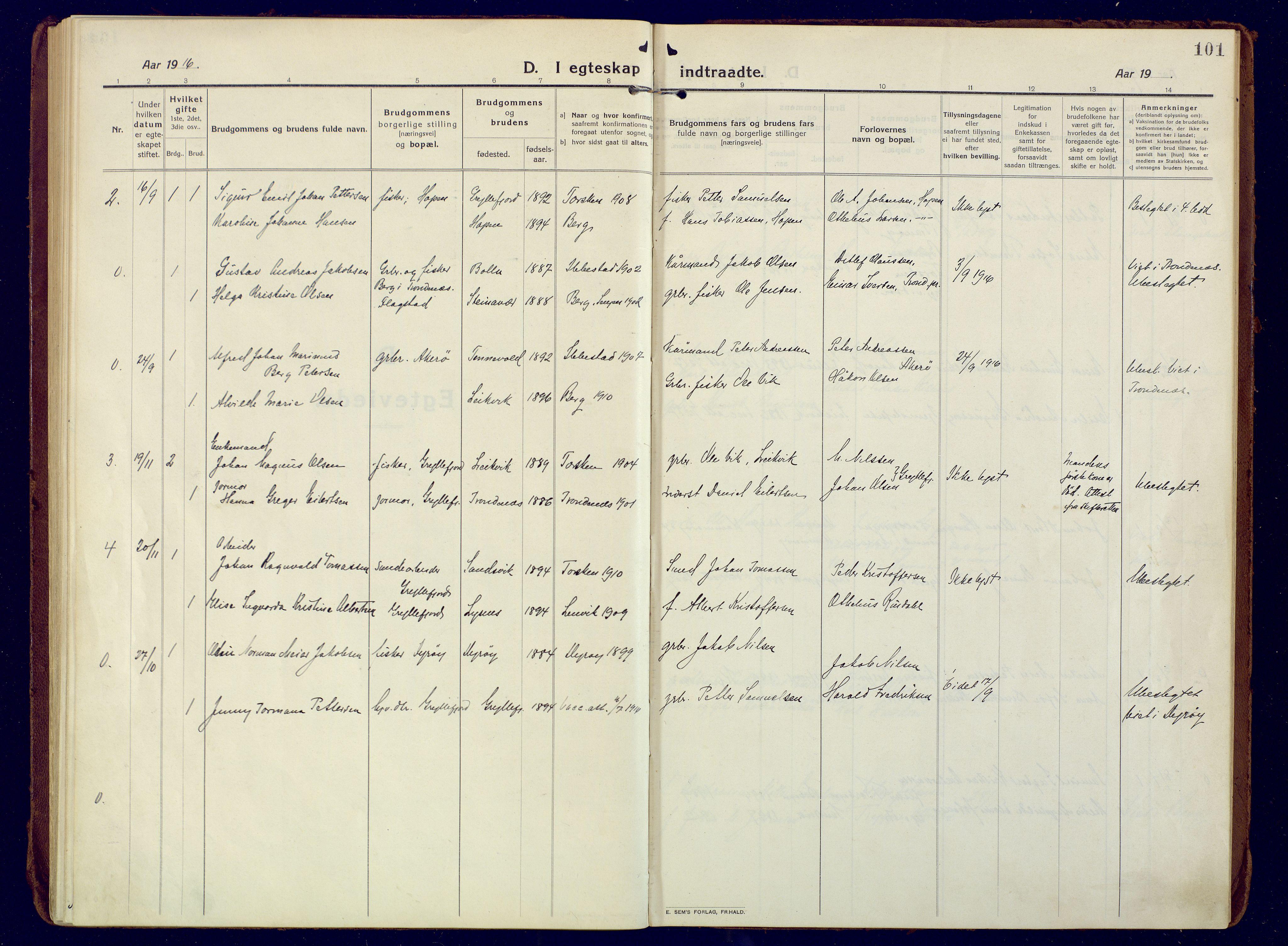 SATØ, Mefjord/Berg sokneprestkontor, G/Ga/Gaa: Ministerialbok nr. 10, 1916-1928, s. 101