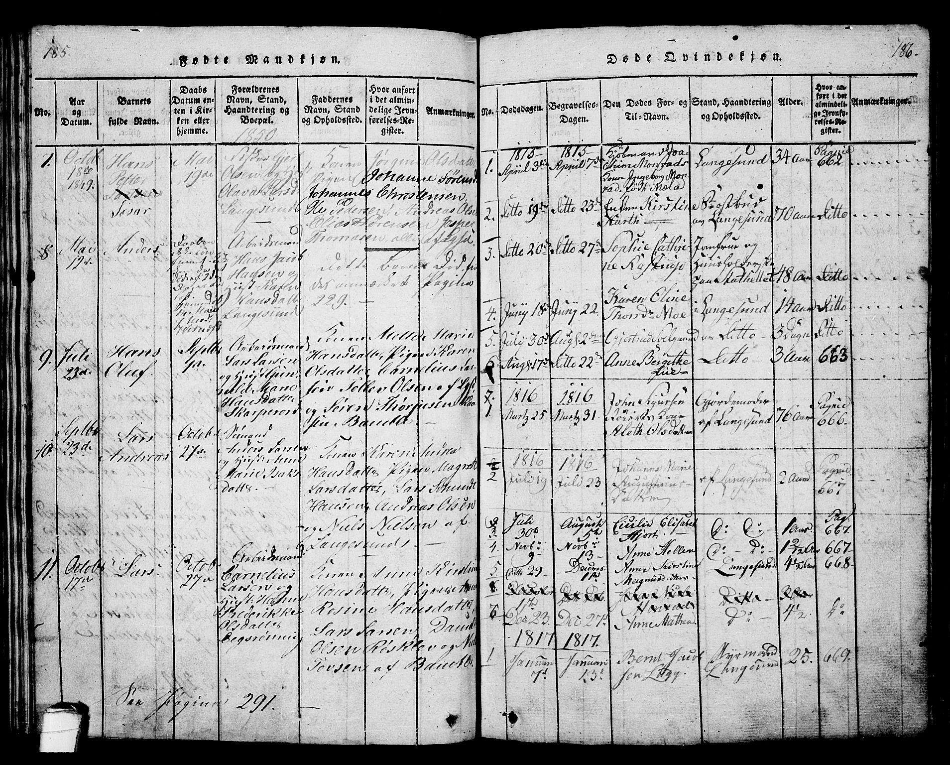 SAKO, Langesund kirkebøker, G/Ga/L0003: Klokkerbok nr. 3, 1815-1858, s. 185-186