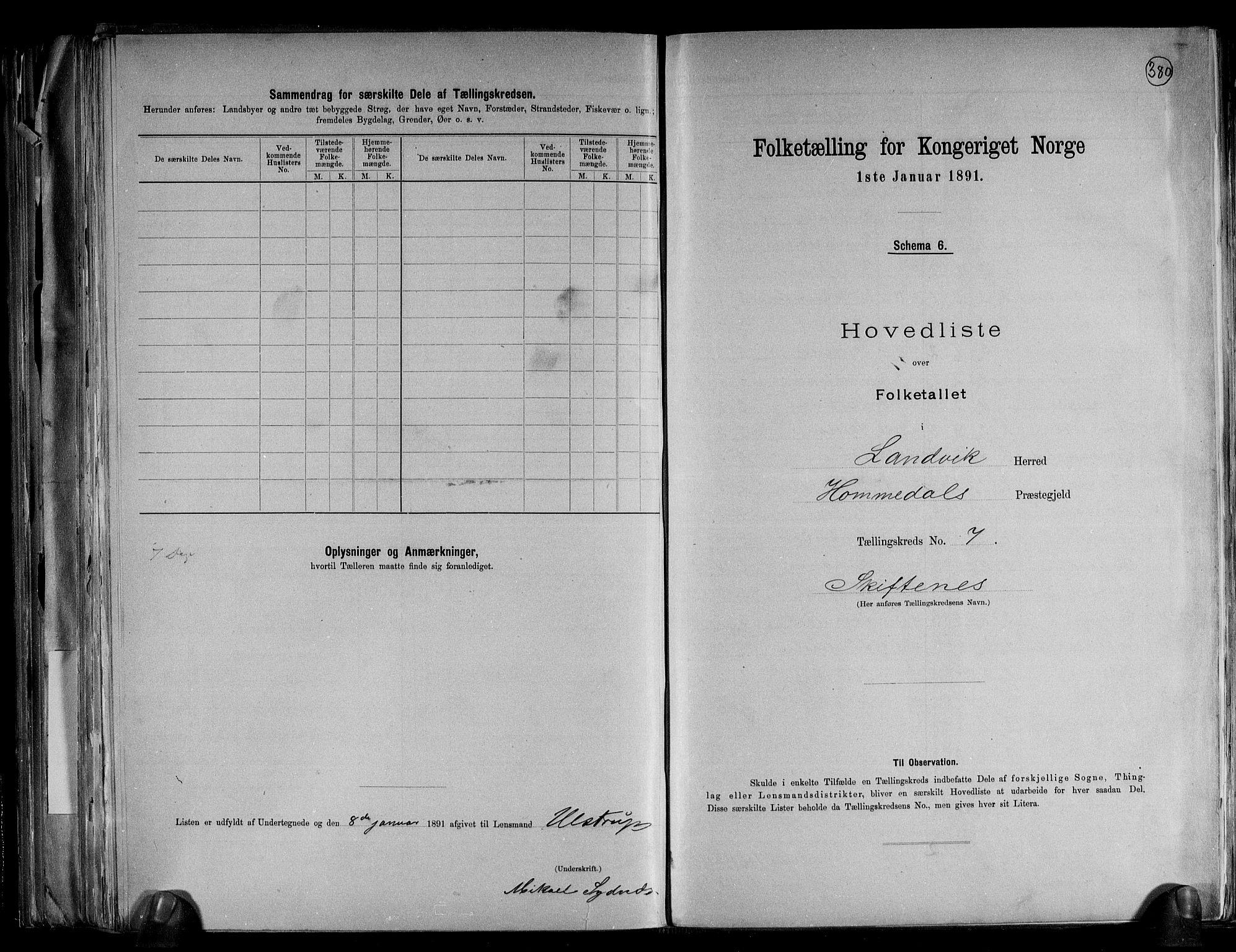 RA, Folketelling 1891 for 0924 Landvik herred, 1891, s. 19