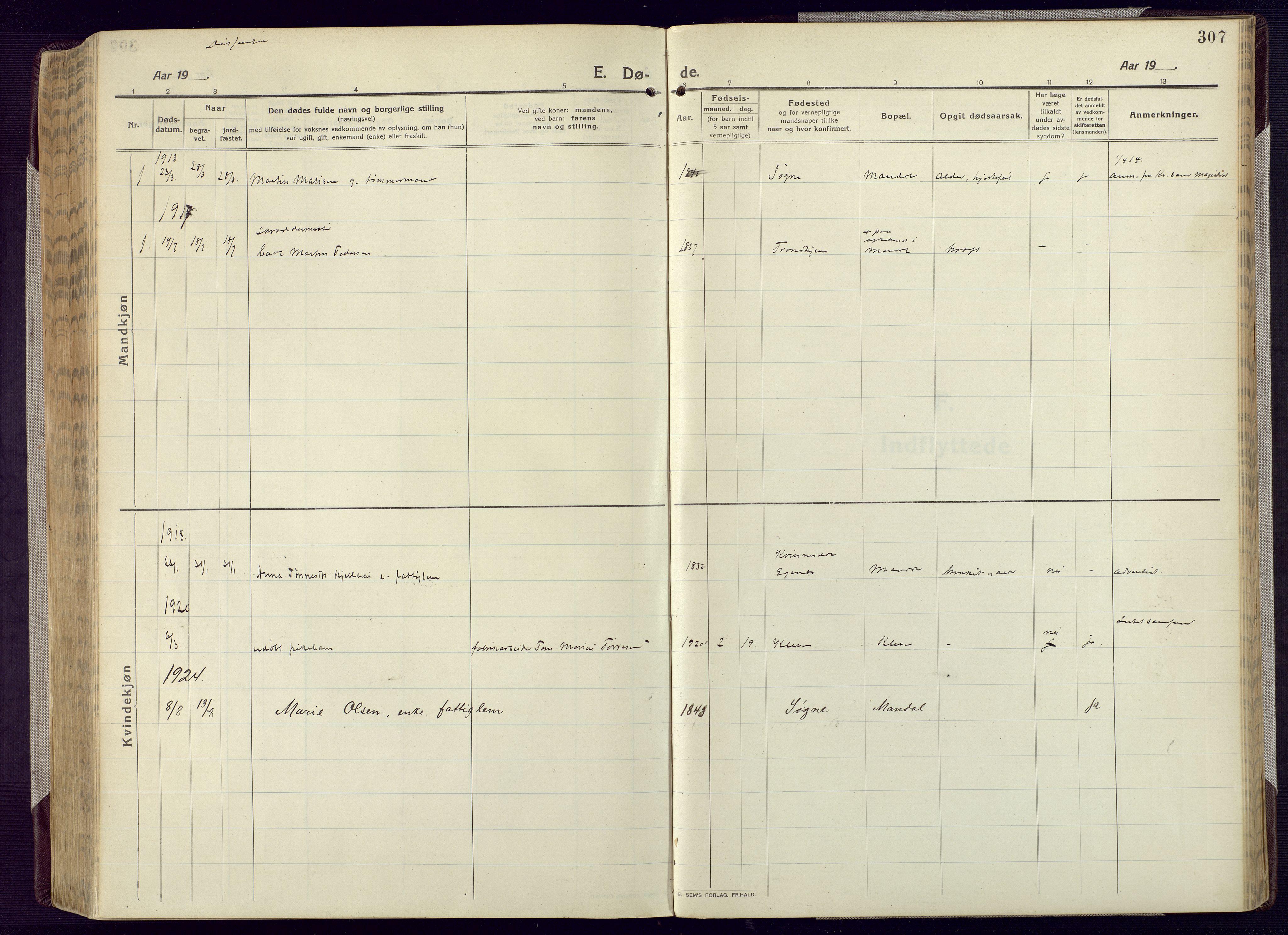 SAK, Mandal sokneprestkontor, F/Fa/Fac/L0001: Ministerialbok nr. A 1, 1913-1925, s. 307