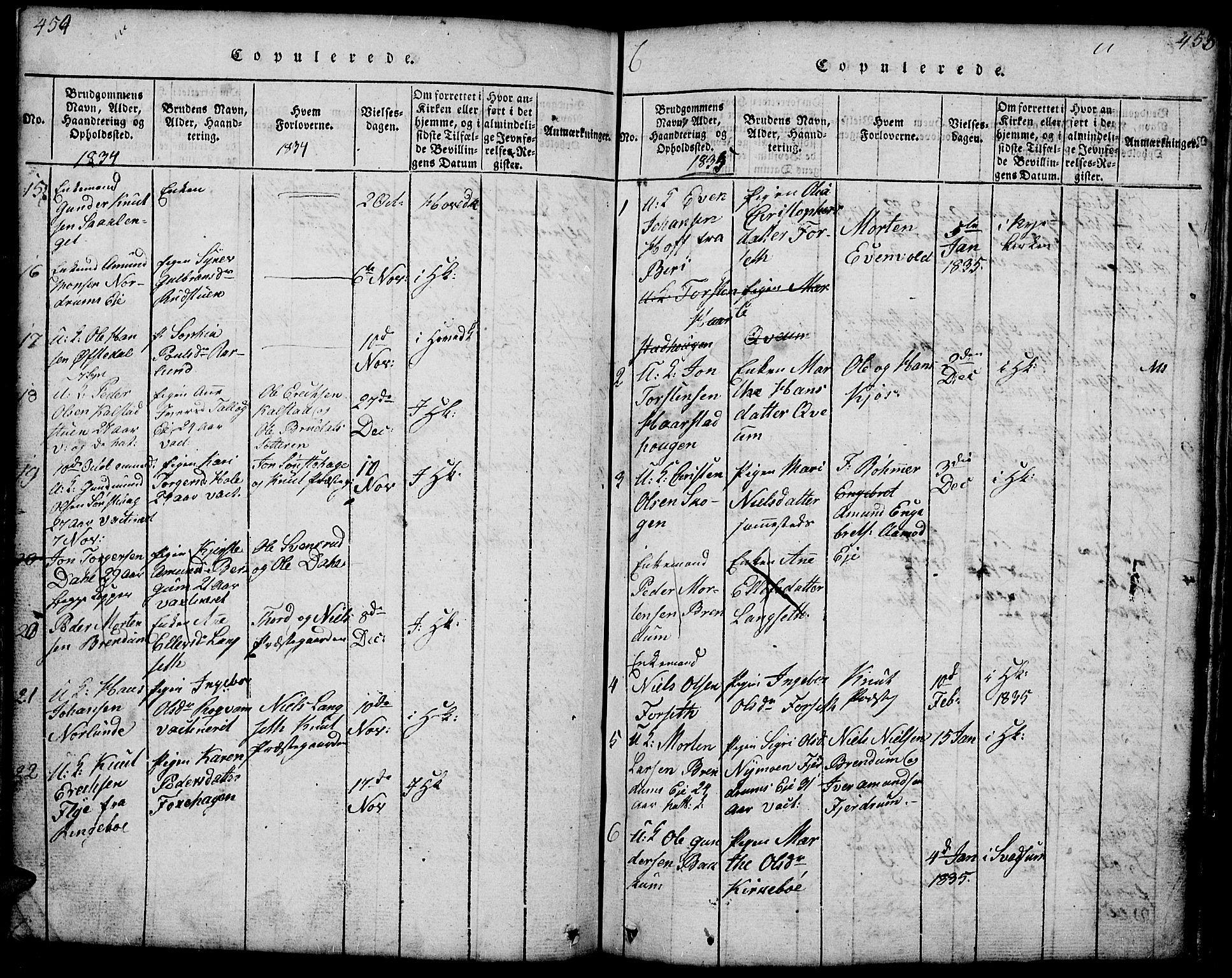SAH, Gausdal prestekontor, Klokkerbok nr. 1, 1817-1848, s. 454-455