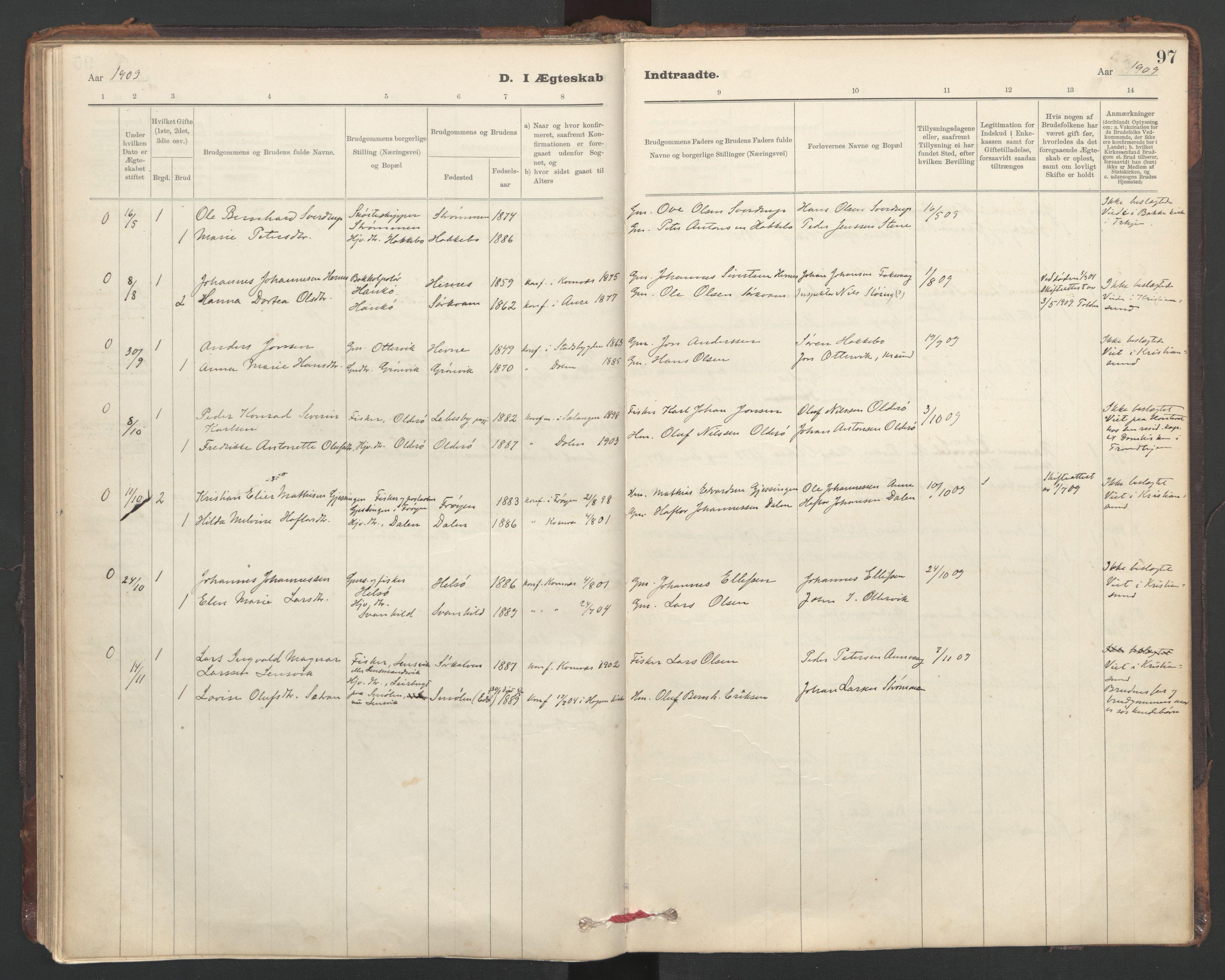 SAT, Ministerialprotokoller, klokkerbøker og fødselsregistre - Sør-Trøndelag, 635/L0552: Ministerialbok nr. 635A02, 1899-1919, s. 97