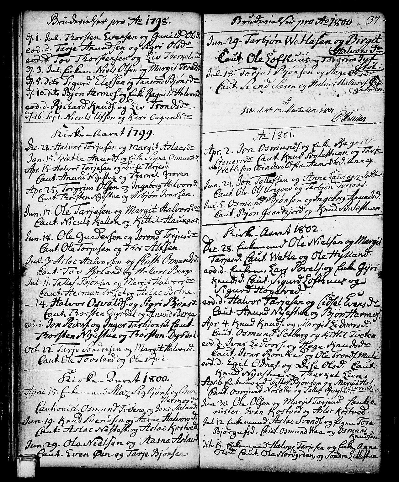 SAKO, Vinje kirkebøker, F/Fa/L0002: Ministerialbok nr. I 2, 1767-1814, s. 37