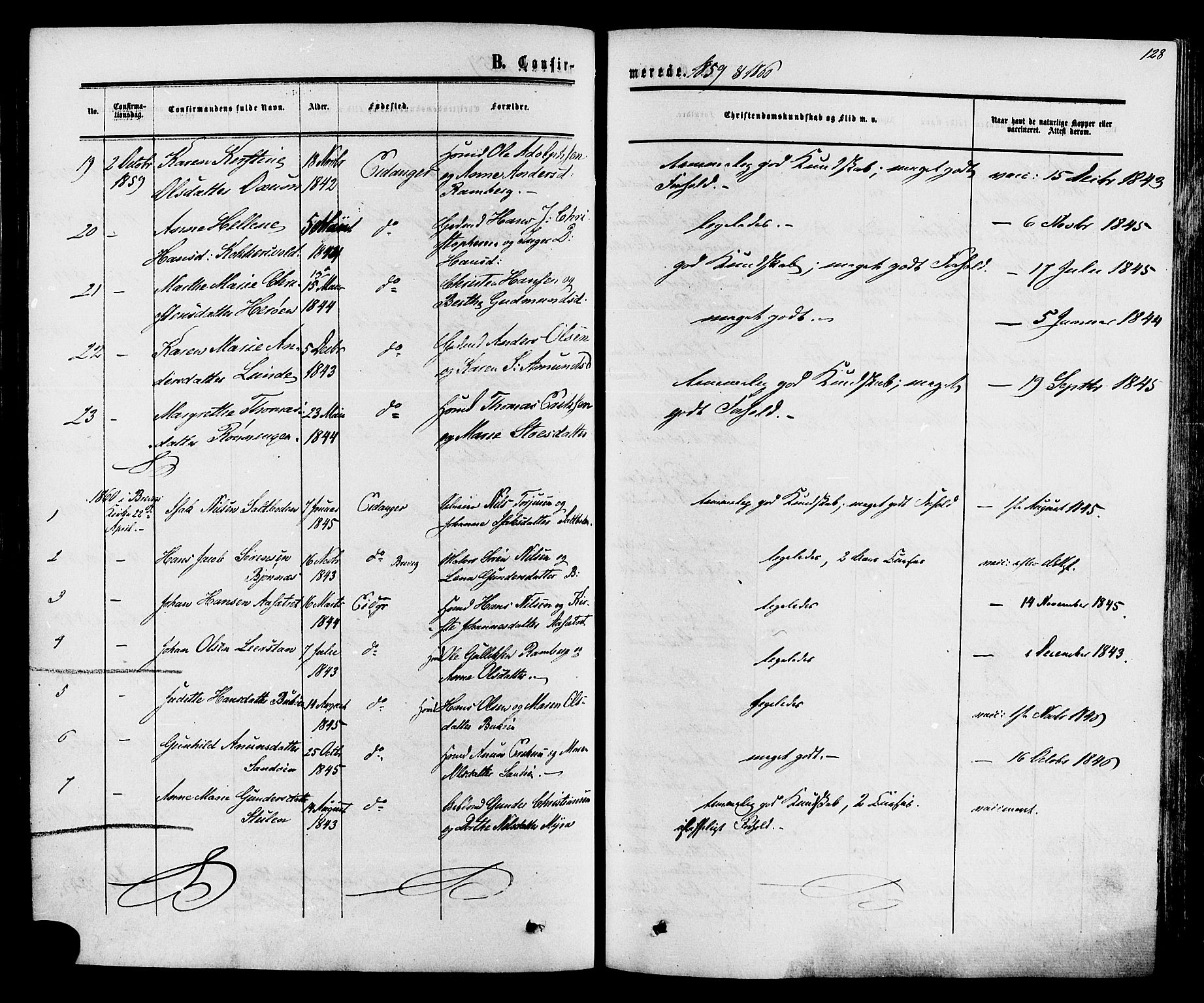 SAKO, Eidanger kirkebøker, F/Fa/L0010: Ministerialbok nr. 10, 1859-1874, s. 128