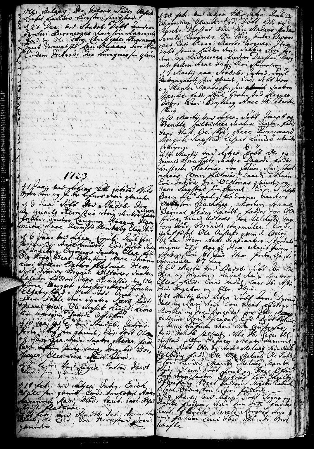 SAT, Ministerialprotokoller, klokkerbøker og fødselsregistre - Sør-Trøndelag, 646/L0603: Ministerialbok nr. 646A01, 1700-1734, s. 32