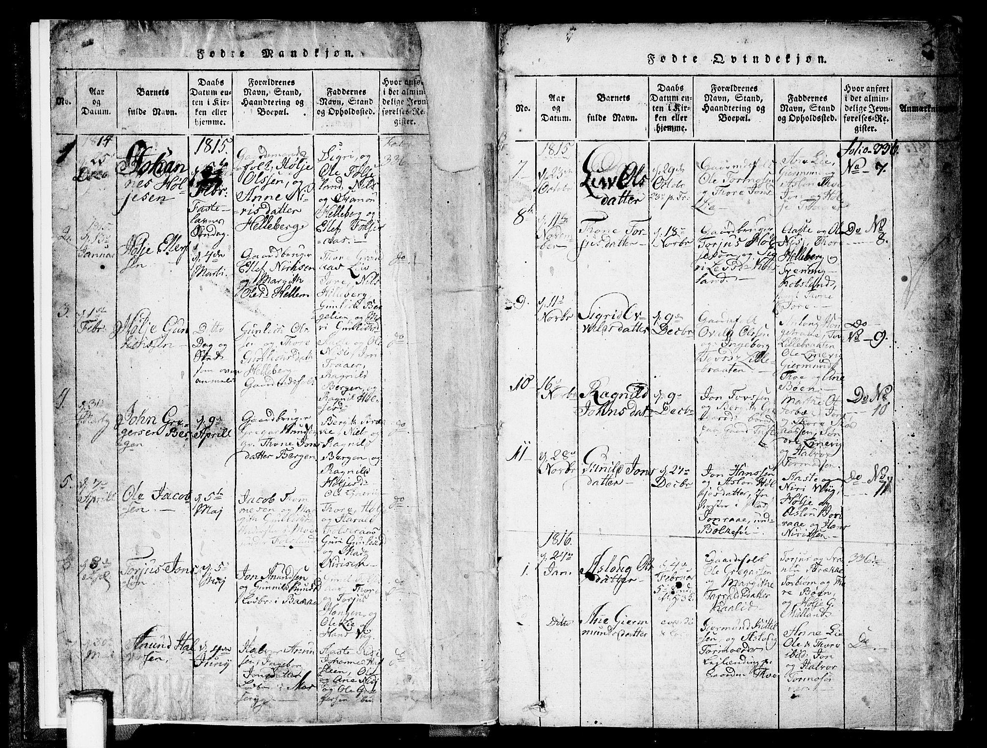SAKO, Gransherad kirkebøker, F/Fa/L0001: Ministerialbok nr. I 1, 1815-1843, s. 2