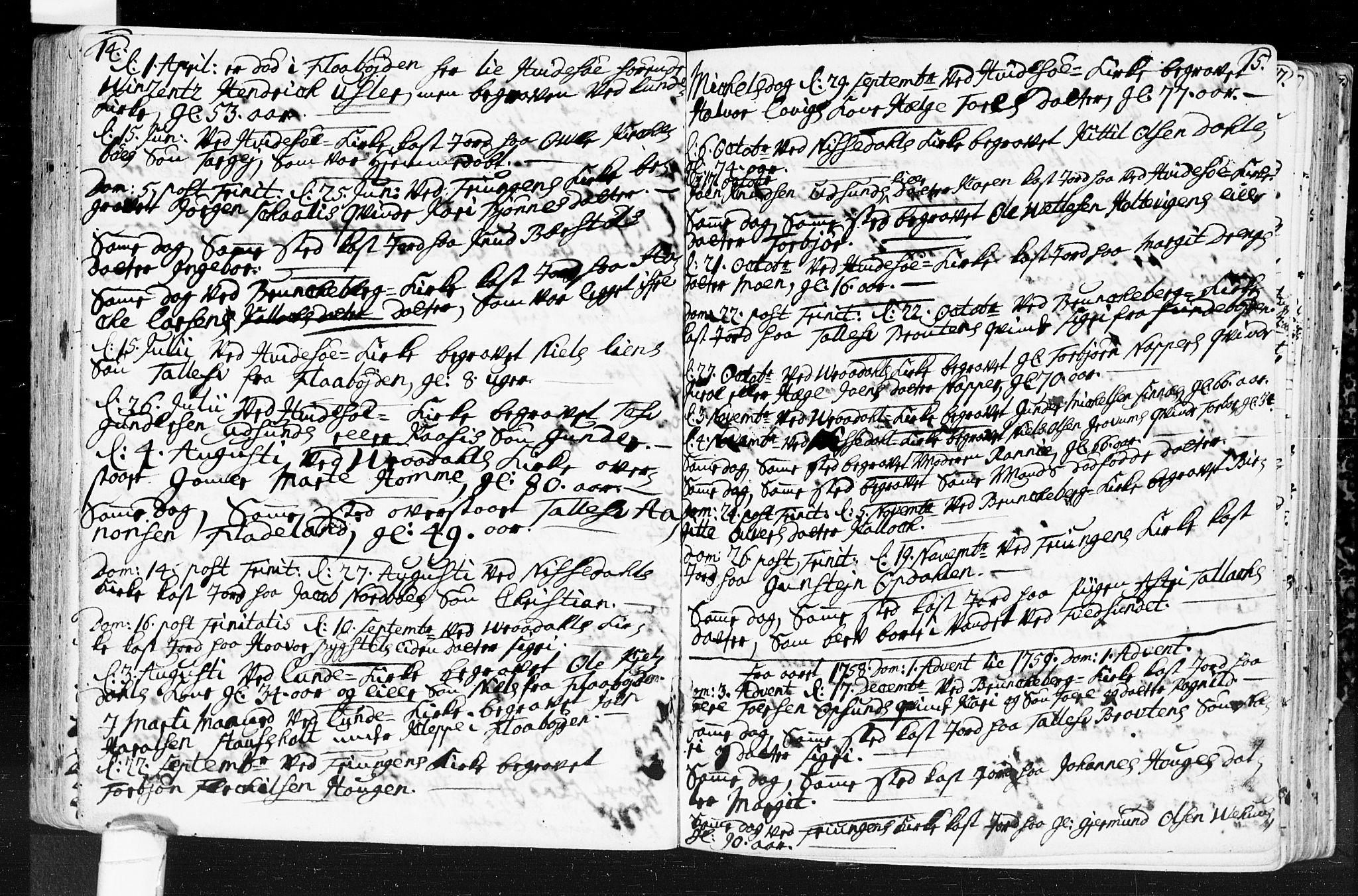 SAKO, Kviteseid kirkebøker, F/Fa/L0001: Ministerialbok nr. I 1, 1754-1773, s. 14-15