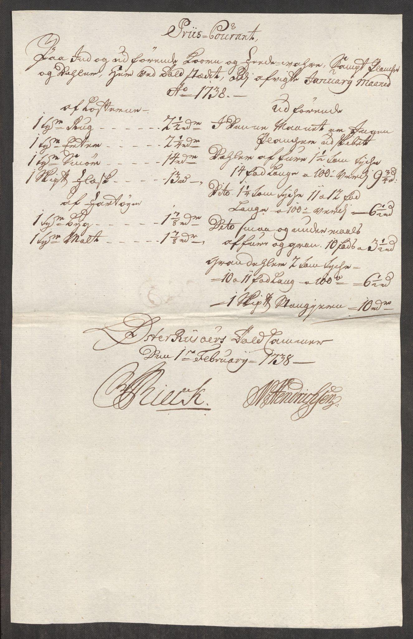 RA, Rentekammeret inntil 1814, Realistisk ordnet avdeling, Oe/L0001: [Ø1]: Priskuranter, 1712-1739, s. 812