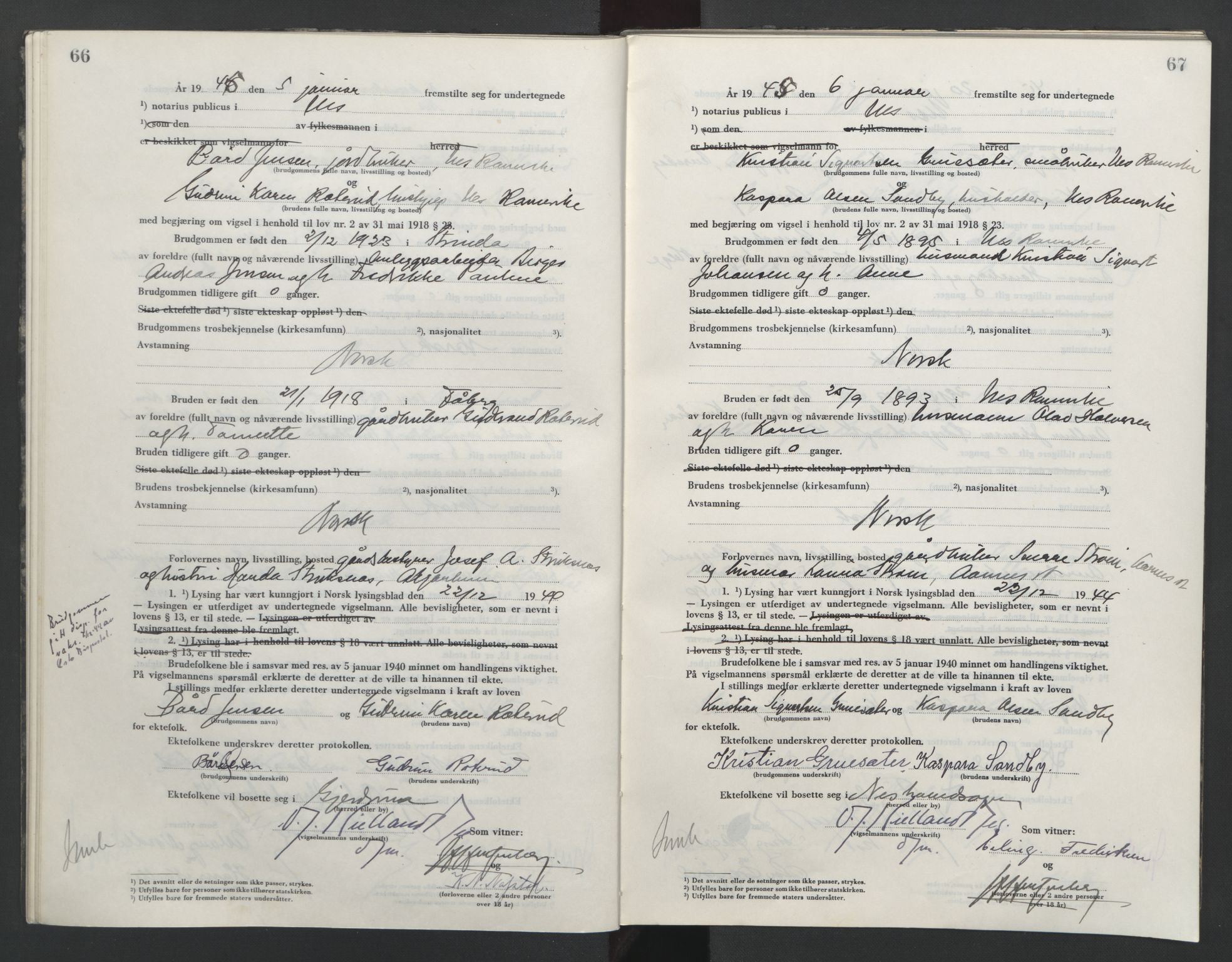 SAO, Nes tingrett, L/Lc/Lca/L0003: Vigselbok, 1944-1953, s. 66-67