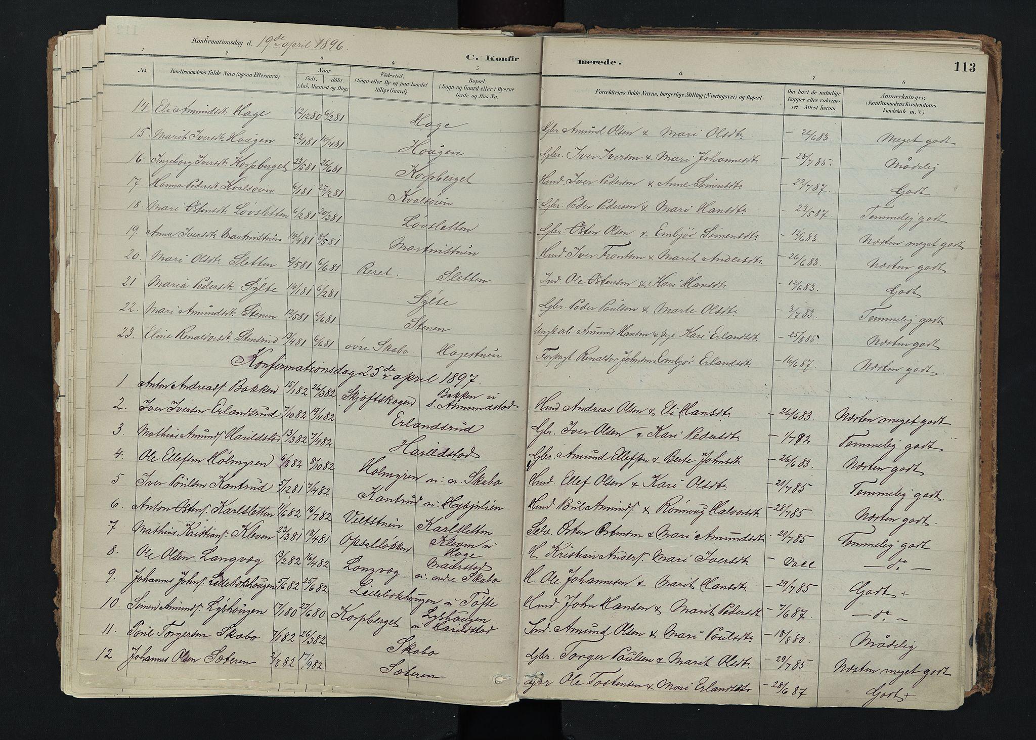 SAH, Nord-Fron prestekontor, Ministerialbok nr. 5, 1884-1914, s. 113