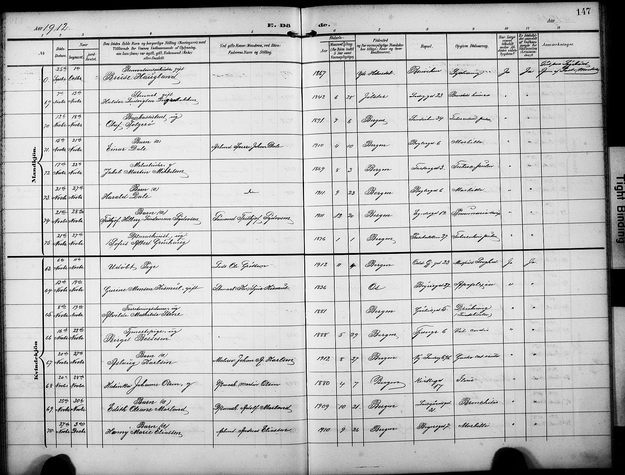 SAB, Sandviken Sokneprestembete, H/Hab/L0017: Klokkerbok nr. E 1, 1903-1926, s. 147