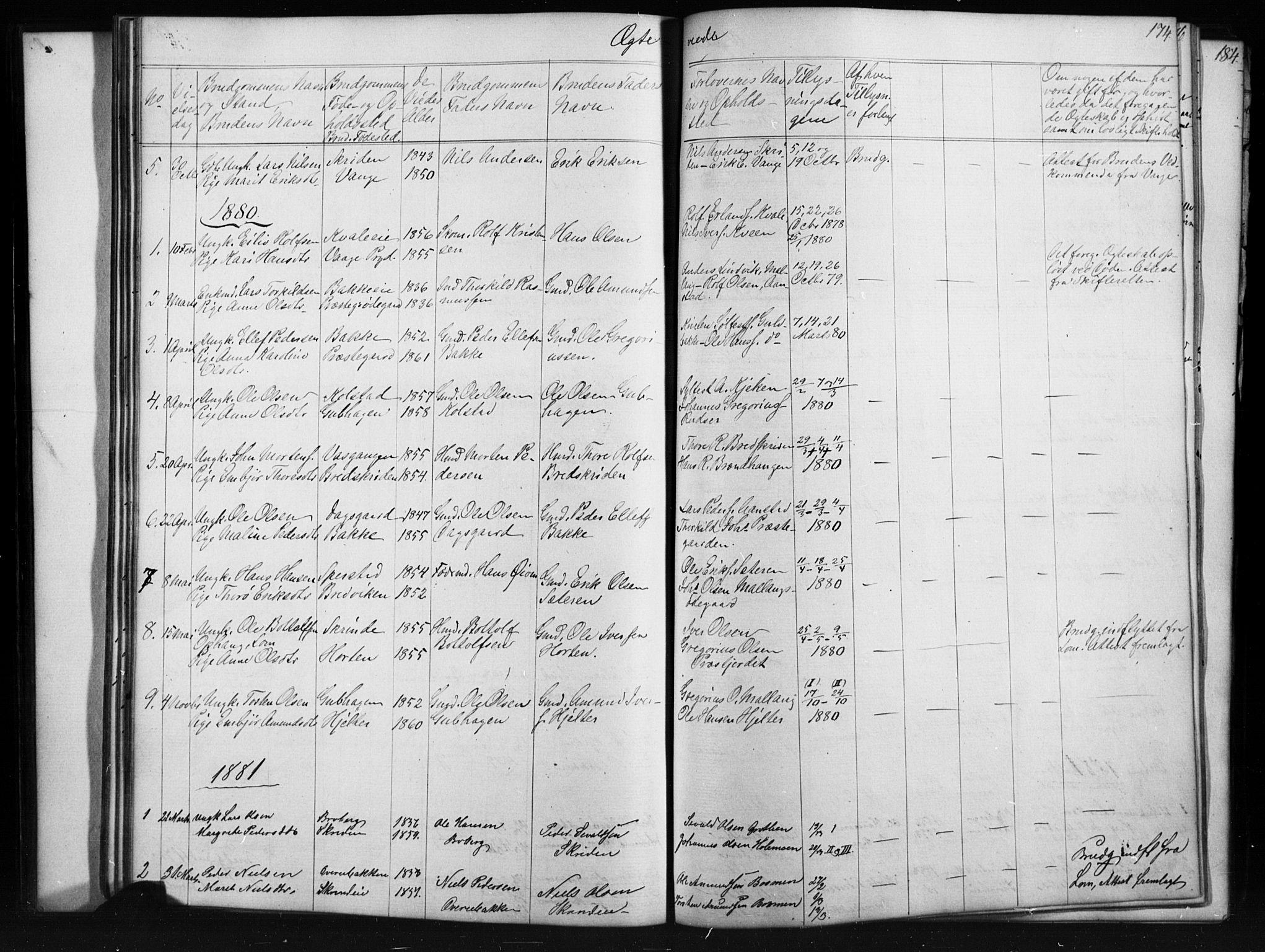 SAH, Skjåk prestekontor, Klokkerbok nr. 1, 1865-1893, s. 174