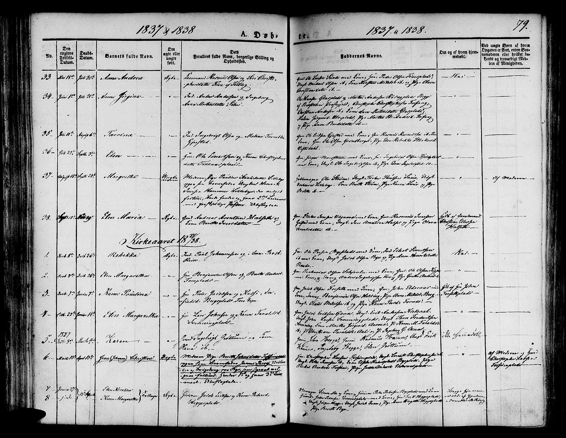 SAT, Ministerialprotokoller, klokkerbøker og fødselsregistre - Nord-Trøndelag, 746/L0445: Ministerialbok nr. 746A04, 1826-1846, s. 79