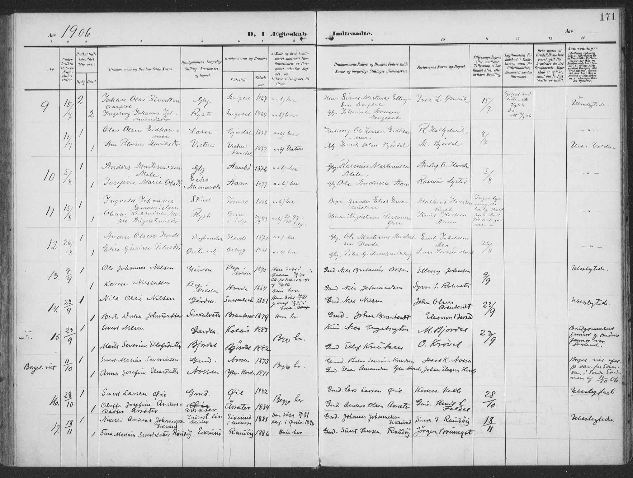 SAT, Ministerialprotokoller, klokkerbøker og fødselsregistre - Møre og Romsdal, 513/L0178: Ministerialbok nr. 513A05, 1906-1919, s. 171