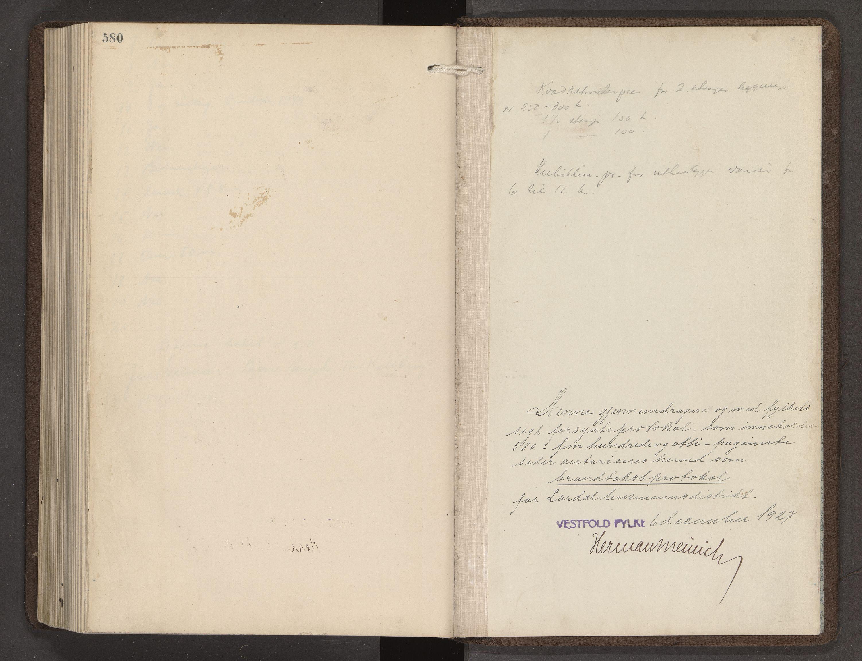 SAKO, Lardal lensmannskontor, Y/Yb/Yba/L0002: Branntakstprotokoll, 1927-1949, s. 580