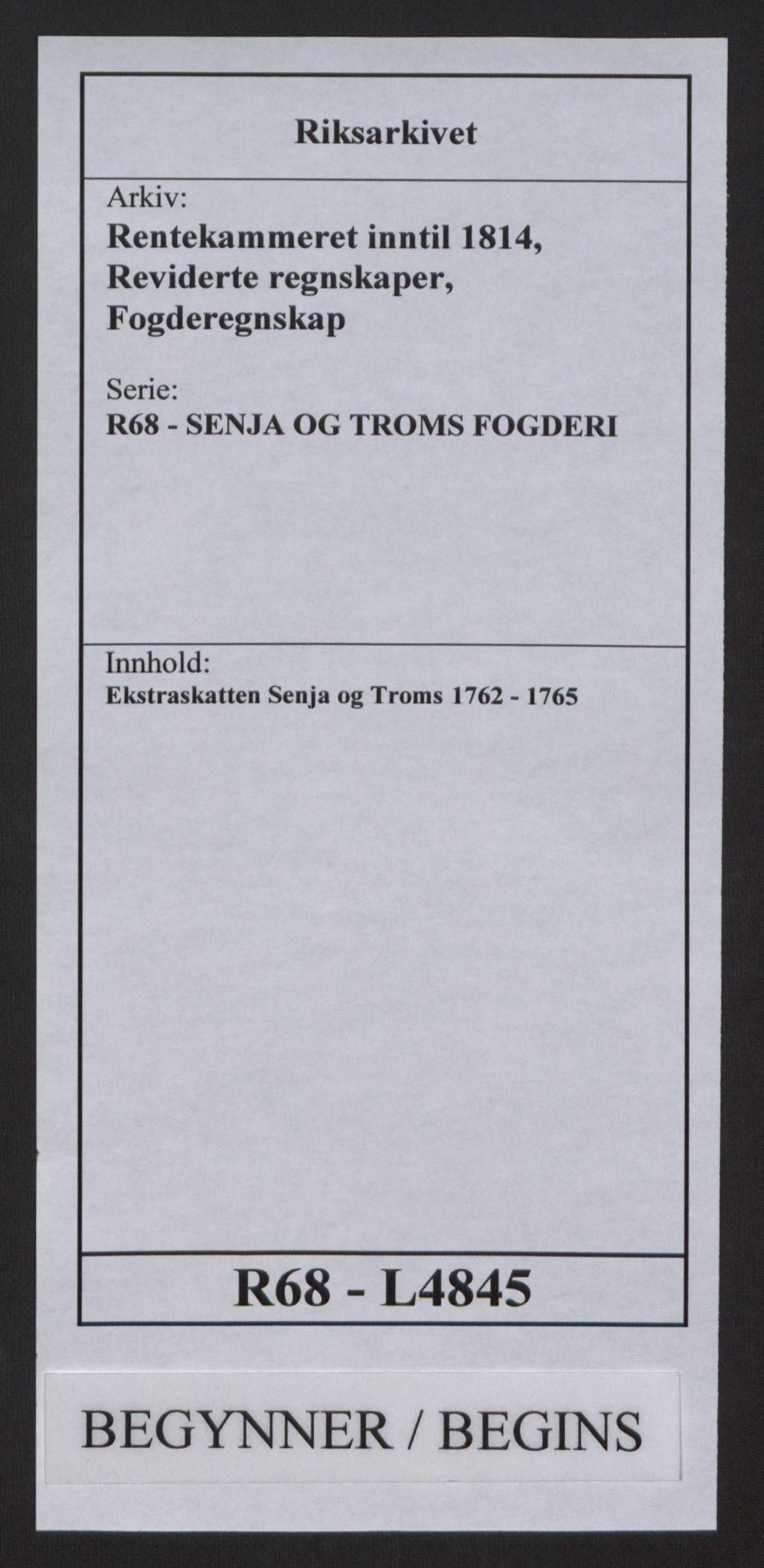 RA, Rentekammeret inntil 1814, Reviderte regnskaper, Fogderegnskap, R68/L4845: Ekstraskatten Senja og Troms, 1762-1765, s. 1