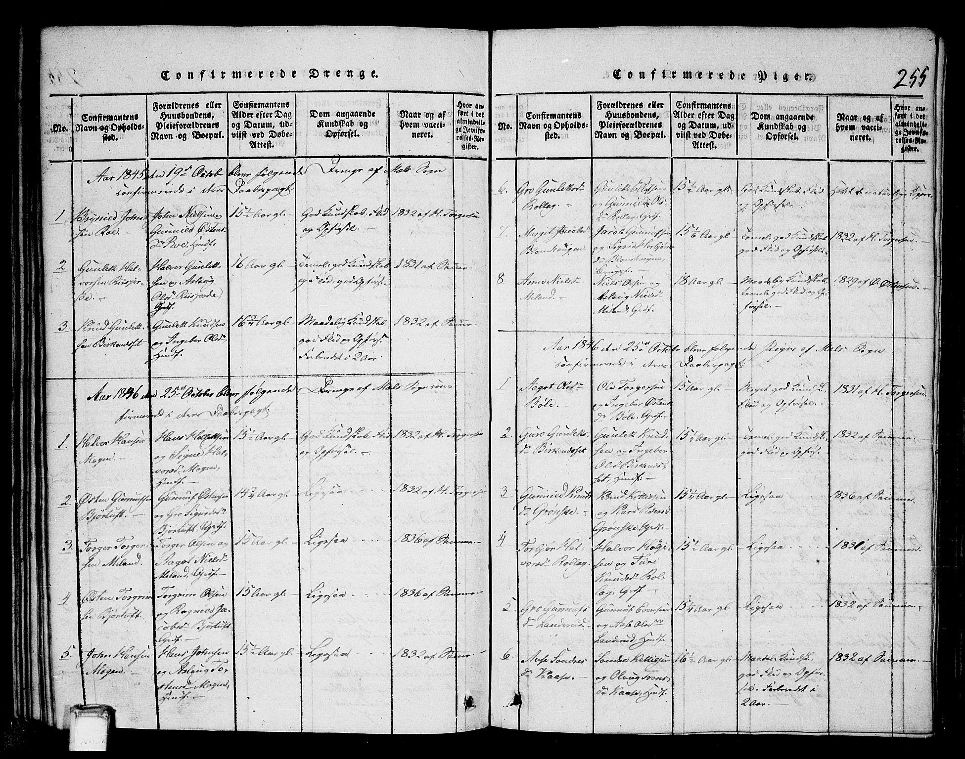 SAKO, Tinn kirkebøker, G/Gb/L0001: Klokkerbok nr. II 1 /1, 1815-1850, s. 255