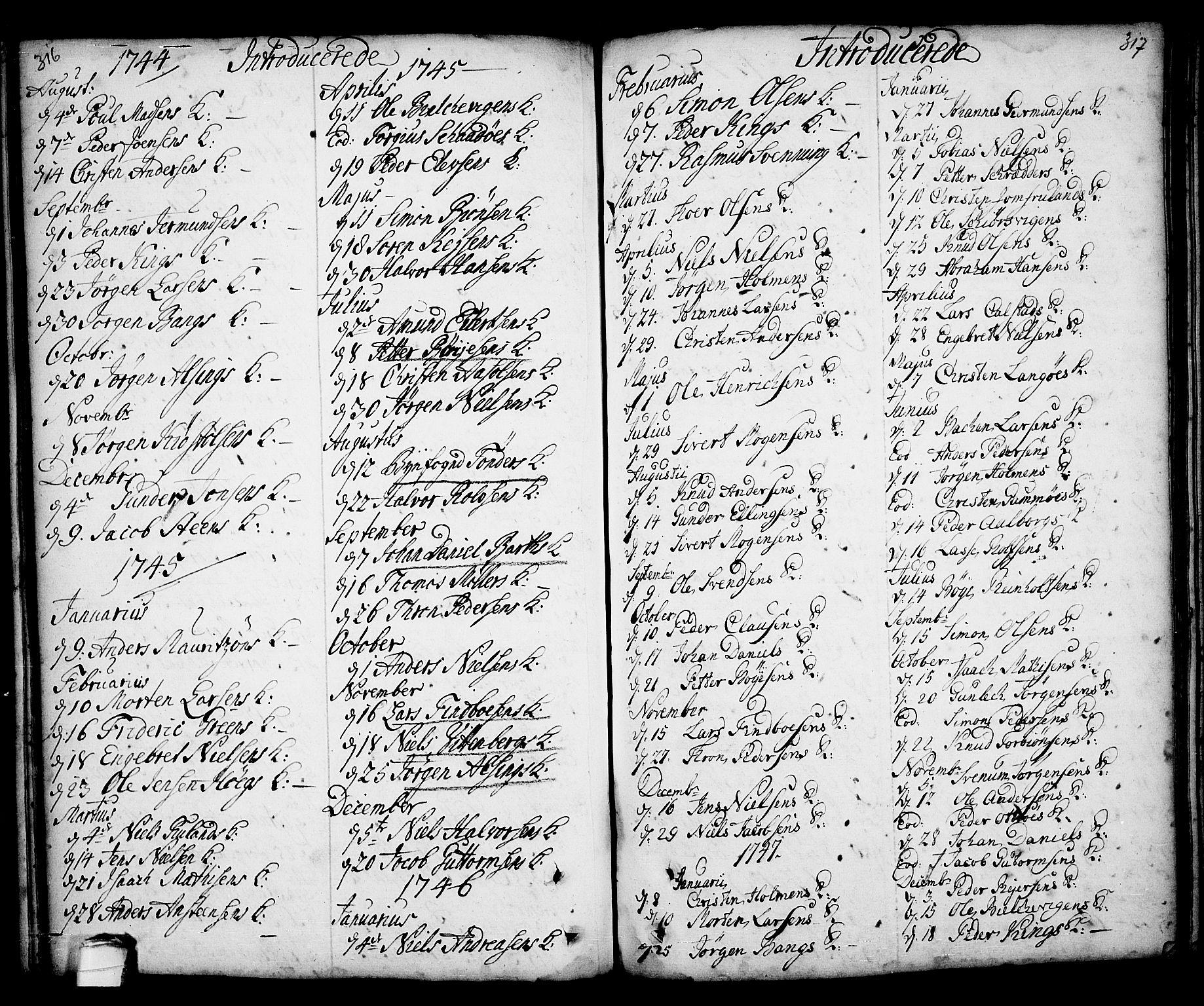 SAKO, Kragerø kirkebøker, F/Fa/L0001: Ministerialbok nr. 1, 1702-1766, s. 316-317