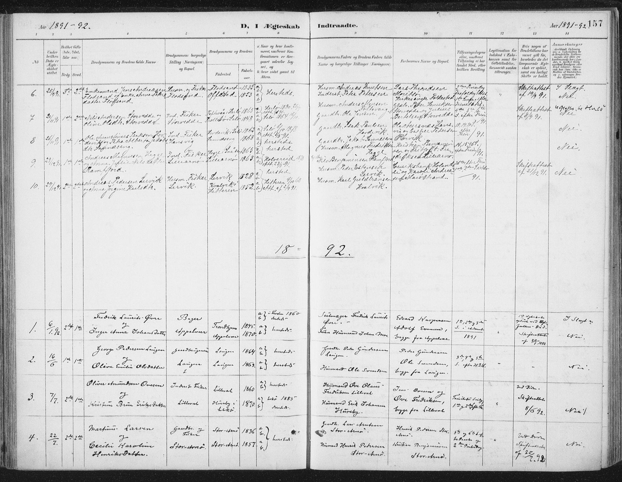 SAT, Ministerialprotokoller, klokkerbøker og fødselsregistre - Nord-Trøndelag, 784/L0673: Ministerialbok nr. 784A08, 1888-1899, s. 157