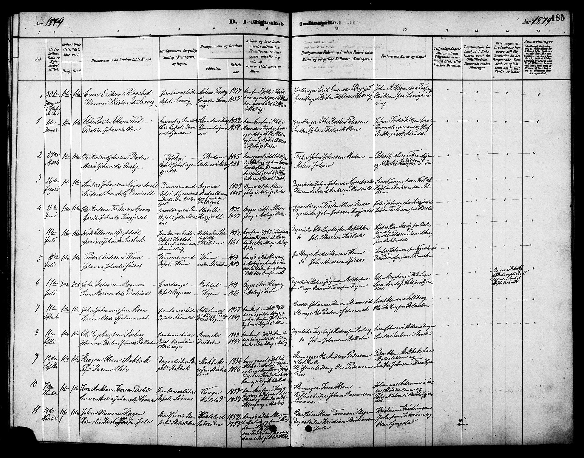 SAT, Ministerialprotokoller, klokkerbøker og fødselsregistre - Sør-Trøndelag, 616/L0423: Klokkerbok nr. 616C06, 1878-1903, s. 185