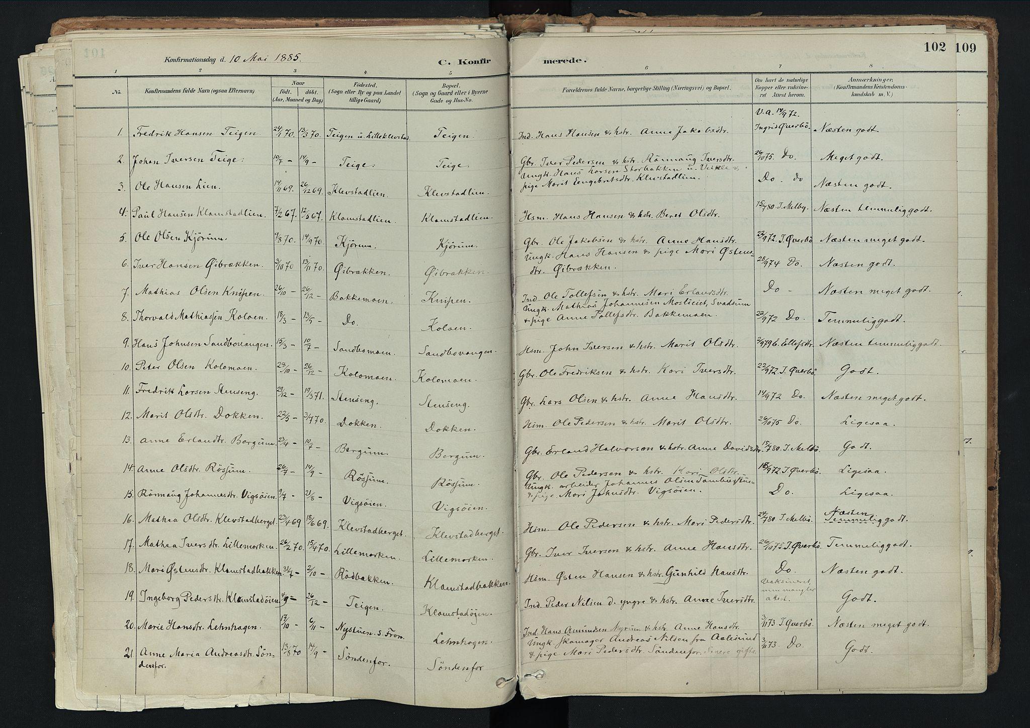 SAH, Nord-Fron prestekontor, Ministerialbok nr. 3, 1884-1914, s. 102