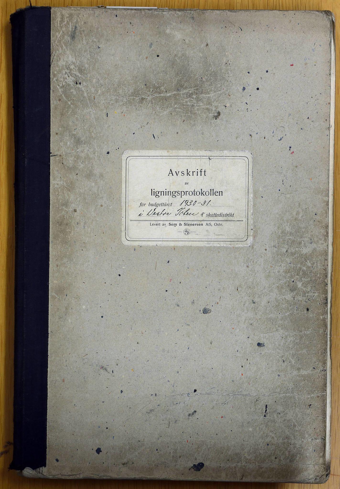 KVT, Vestre Toten kommunearkiv: Avskrift av ligningsprotokollen for budsjettåret 1930-1931 i Vestre Toten skattedistrikt, 1930-1931
