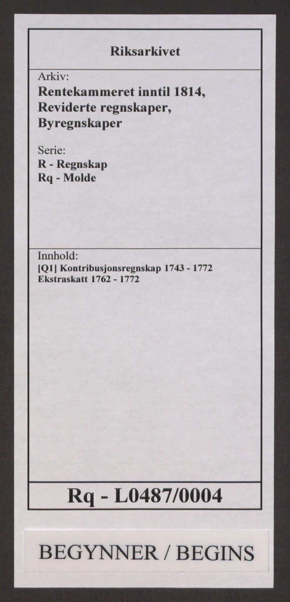 RA, Rentekammeret inntil 1814, Reviderte regnskaper, Byregnskaper, R/Rq/L0487: [Q1] Kontribusjonsregnskap, 1762-1772, s. 1