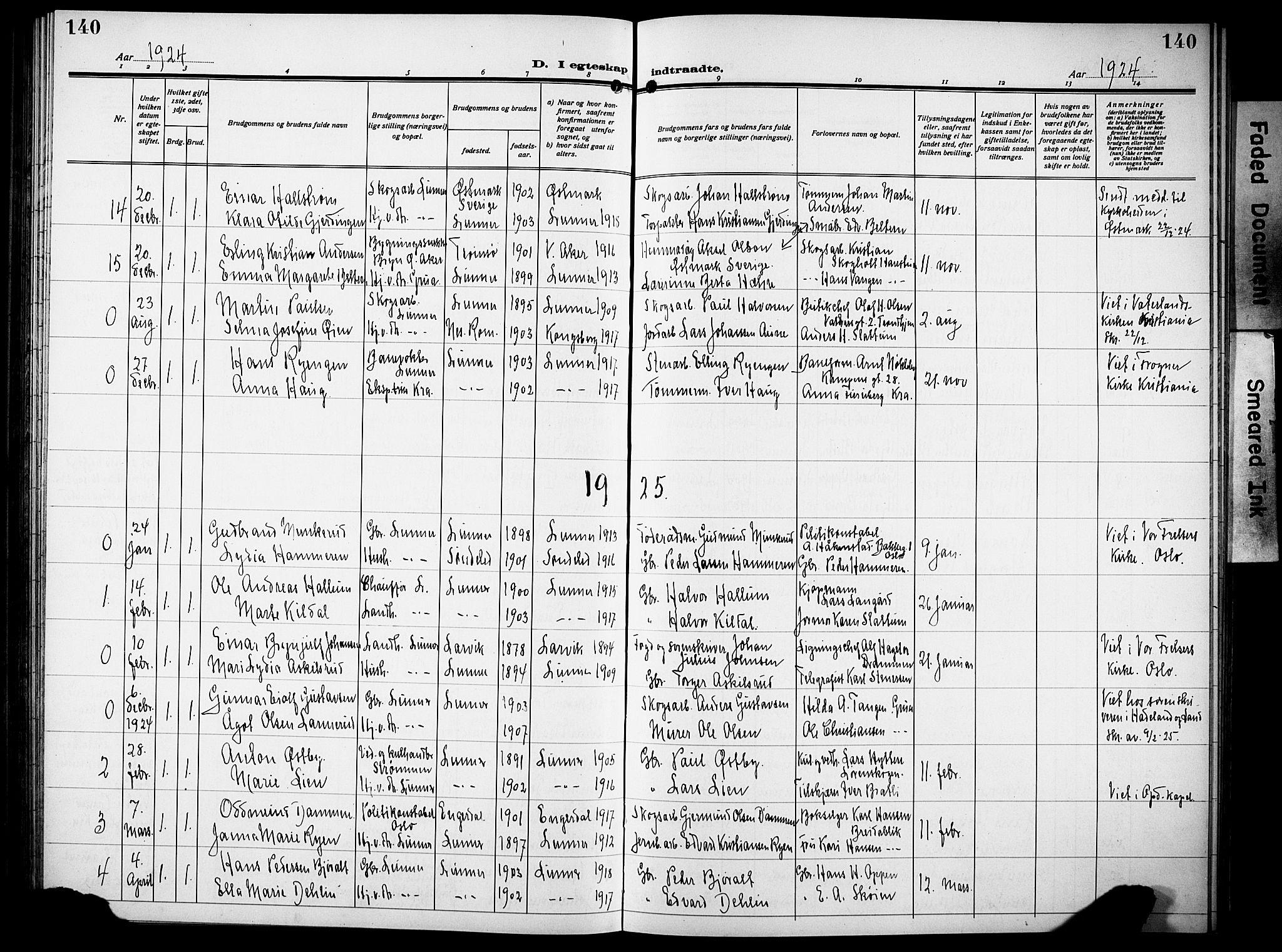 SAH, Lunner prestekontor, H/Ha/Hab/L0002: Klokkerbok nr. 2, 1923-1933, s. 140