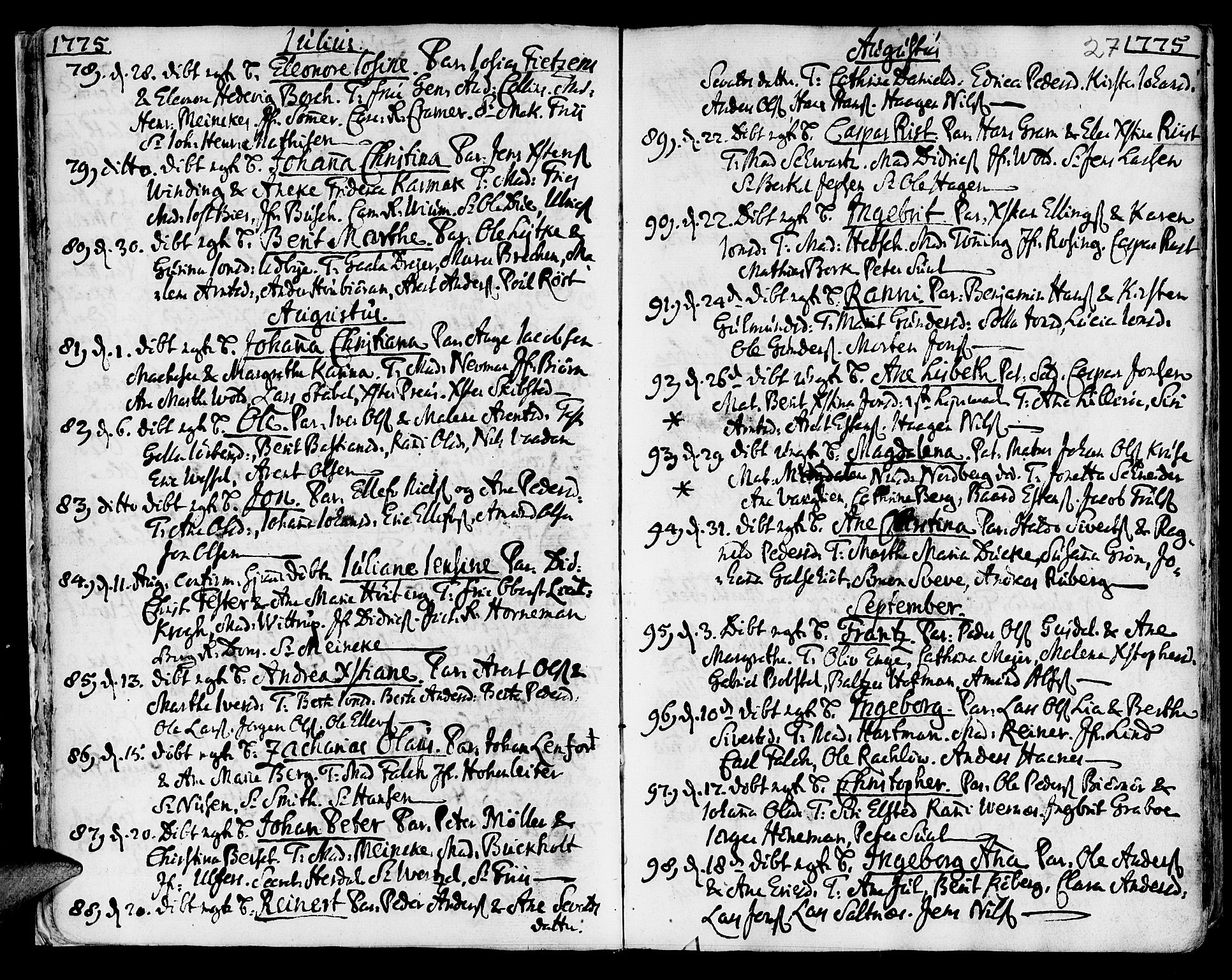 SAT, Ministerialprotokoller, klokkerbøker og fødselsregistre - Sør-Trøndelag, 601/L0039: Ministerialbok nr. 601A07, 1770-1819, s. 27