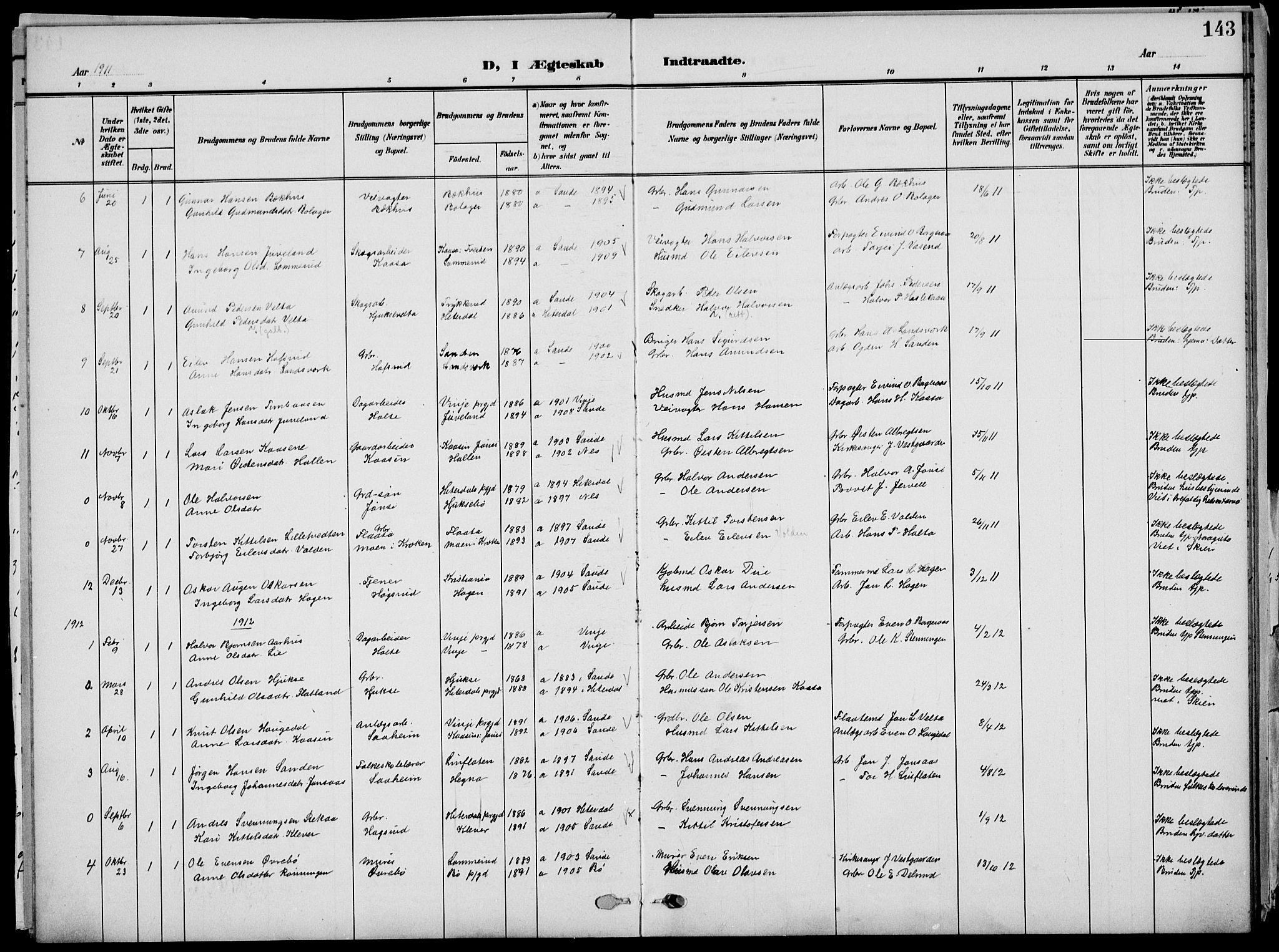 SAKO, Sauherad kirkebøker, G/Ga/L0004a: Klokkerbok nr. I 4, 1906-1934, s. 143