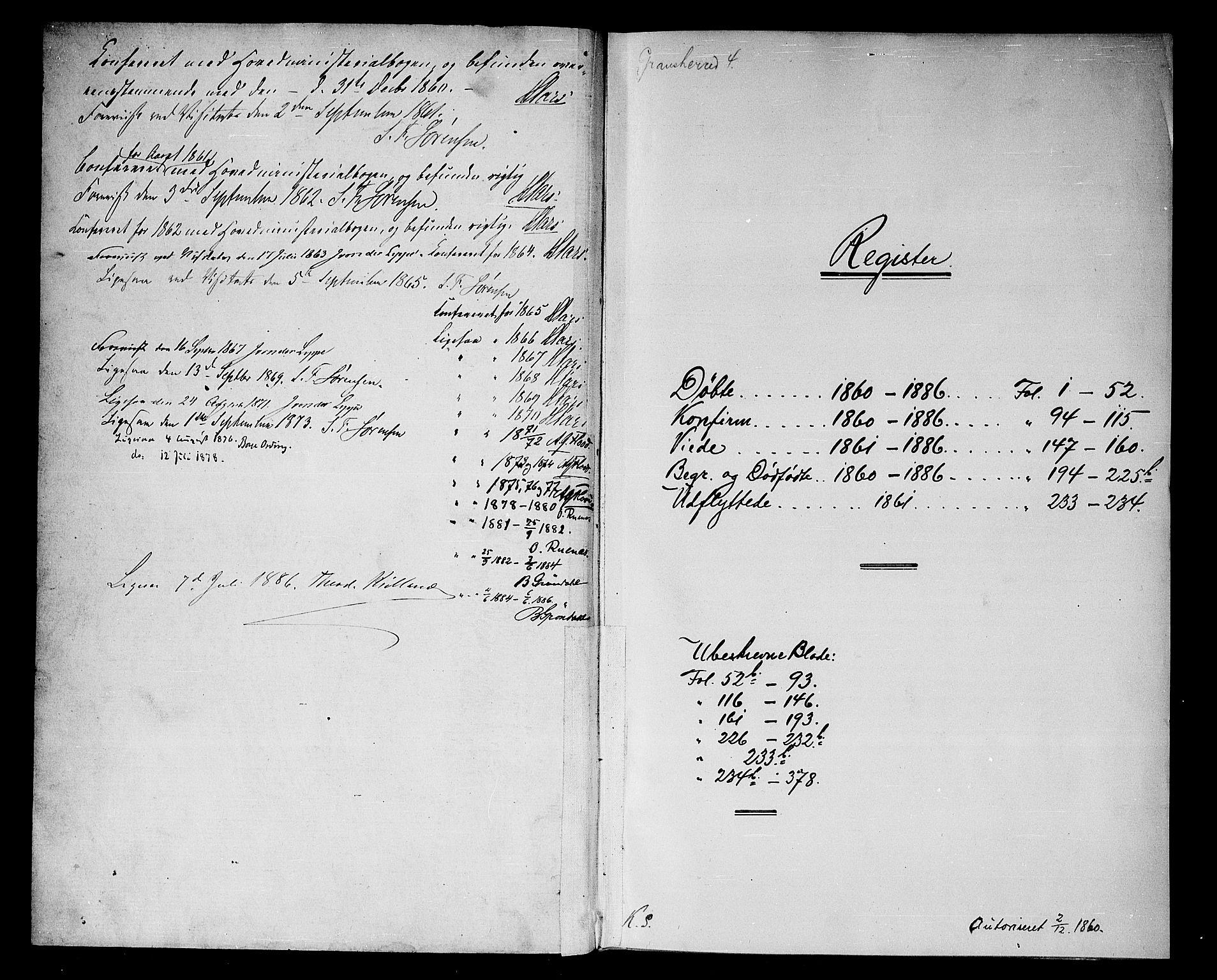 SAKO, Gransherad kirkebøker, G/Gb/L0002: Klokkerbok nr. II 2, 1860-1886