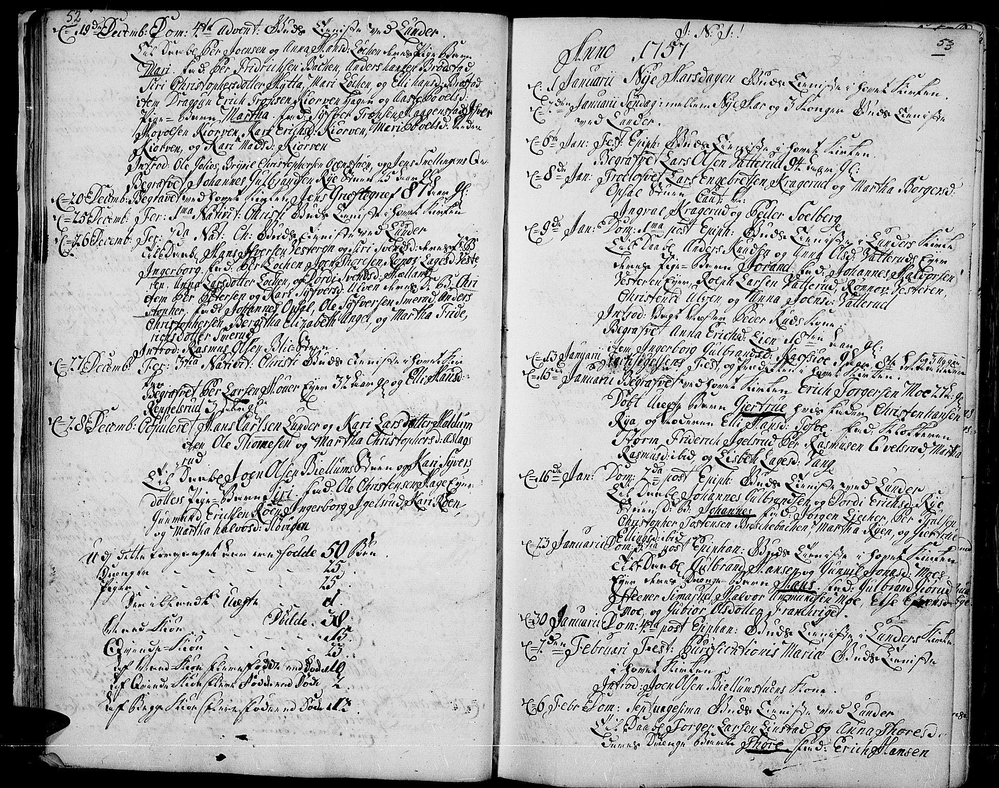 SAH, Jevnaker prestekontor, Ministerialbok nr. 3, 1752-1799, s. 52-53