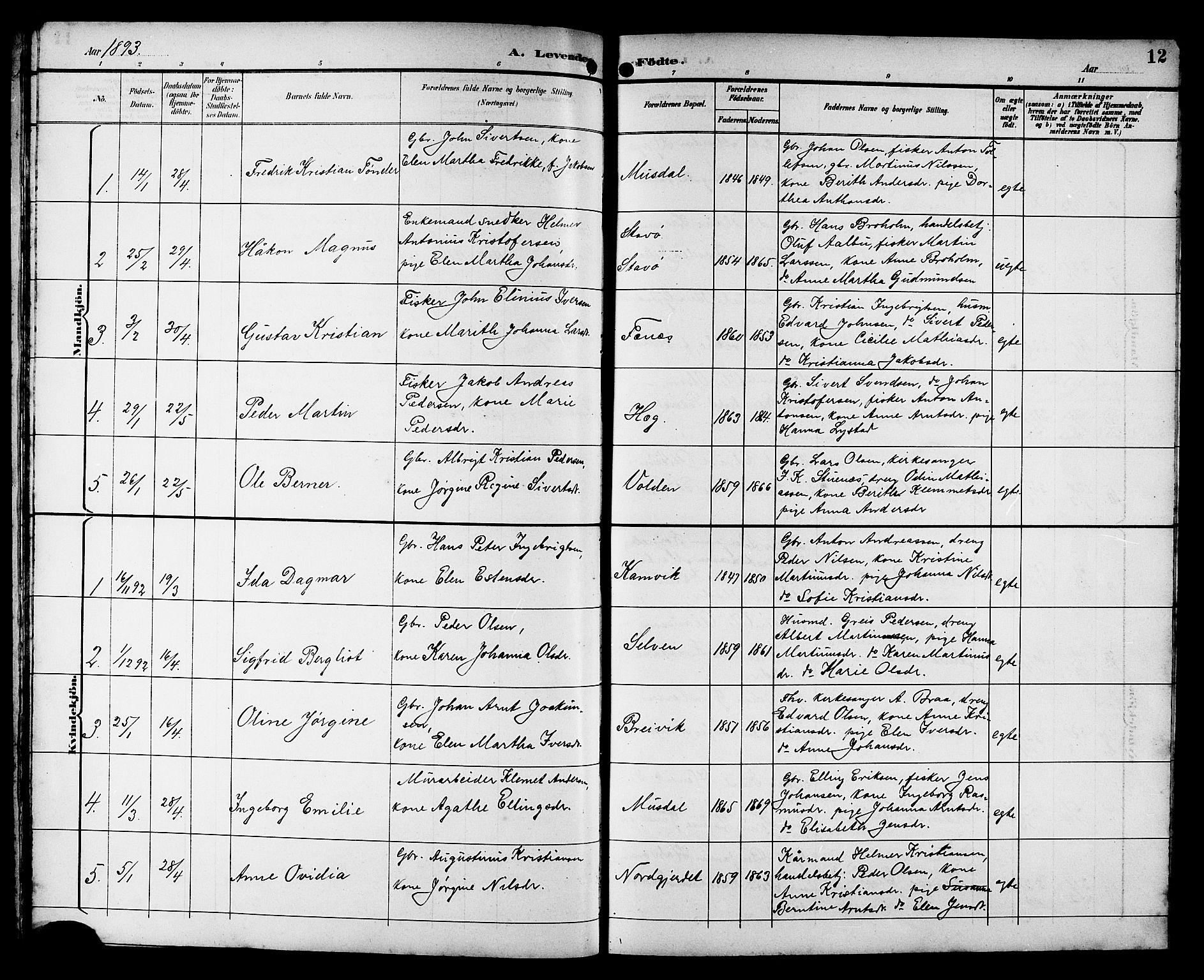 SAT, Ministerialprotokoller, klokkerbøker og fødselsregistre - Sør-Trøndelag, 662/L0757: Klokkerbok nr. 662C02, 1892-1918, s. 12