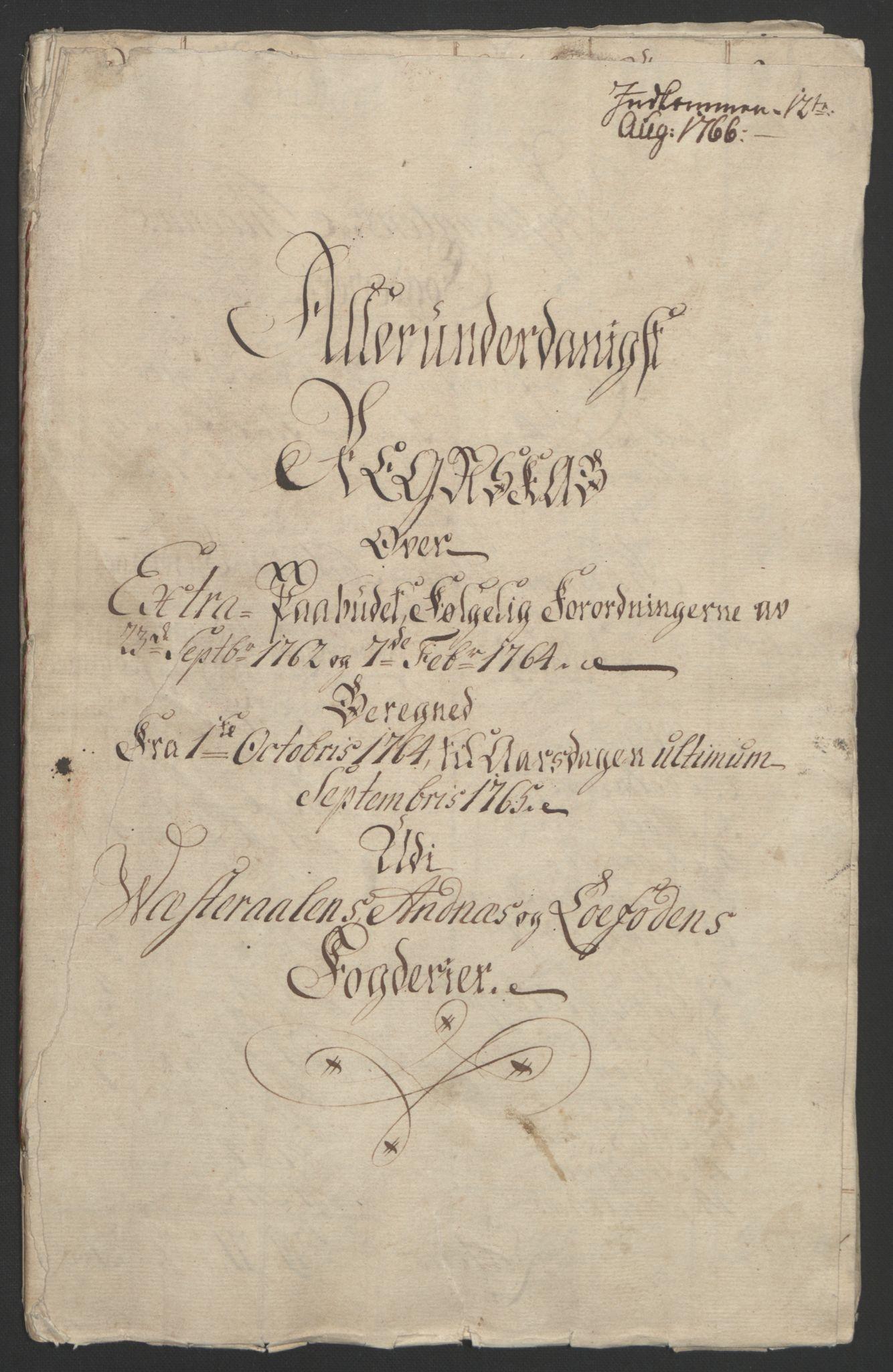 RA, Rentekammeret inntil 1814, Reviderte regnskaper, Fogderegnskap, R67/L4747: Ekstraskatten Vesterålen, Andenes og Lofoten, 1762-1766, s. 334