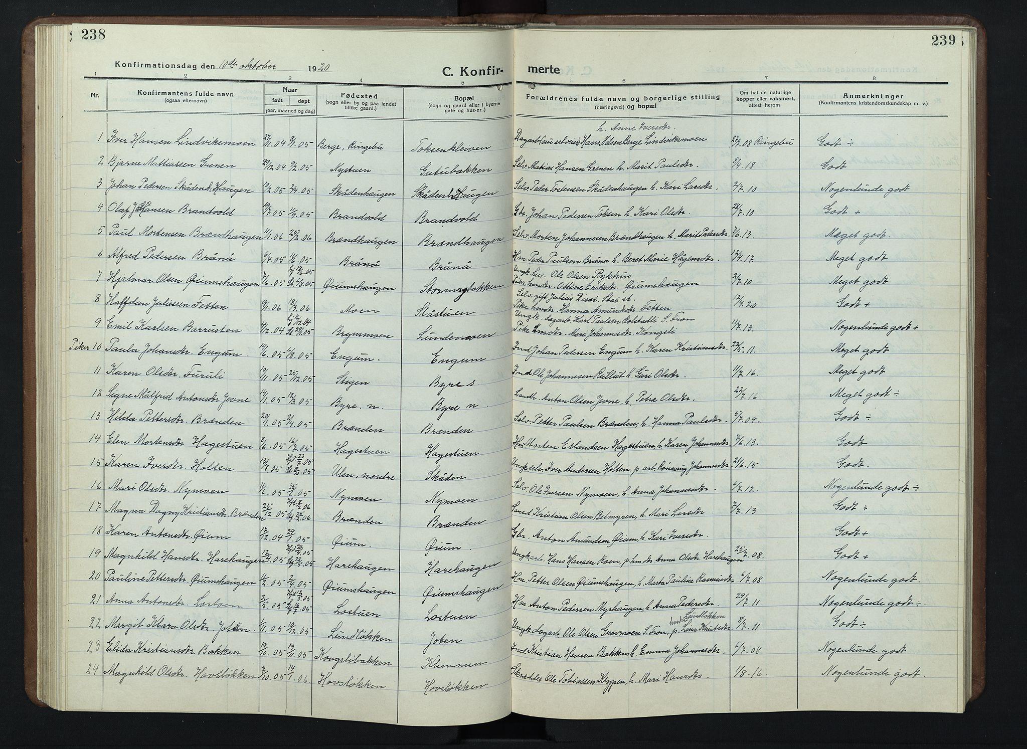 SAH, Nord-Fron prestekontor, Klokkerbok nr. 7, 1915-1946, s. 238-239