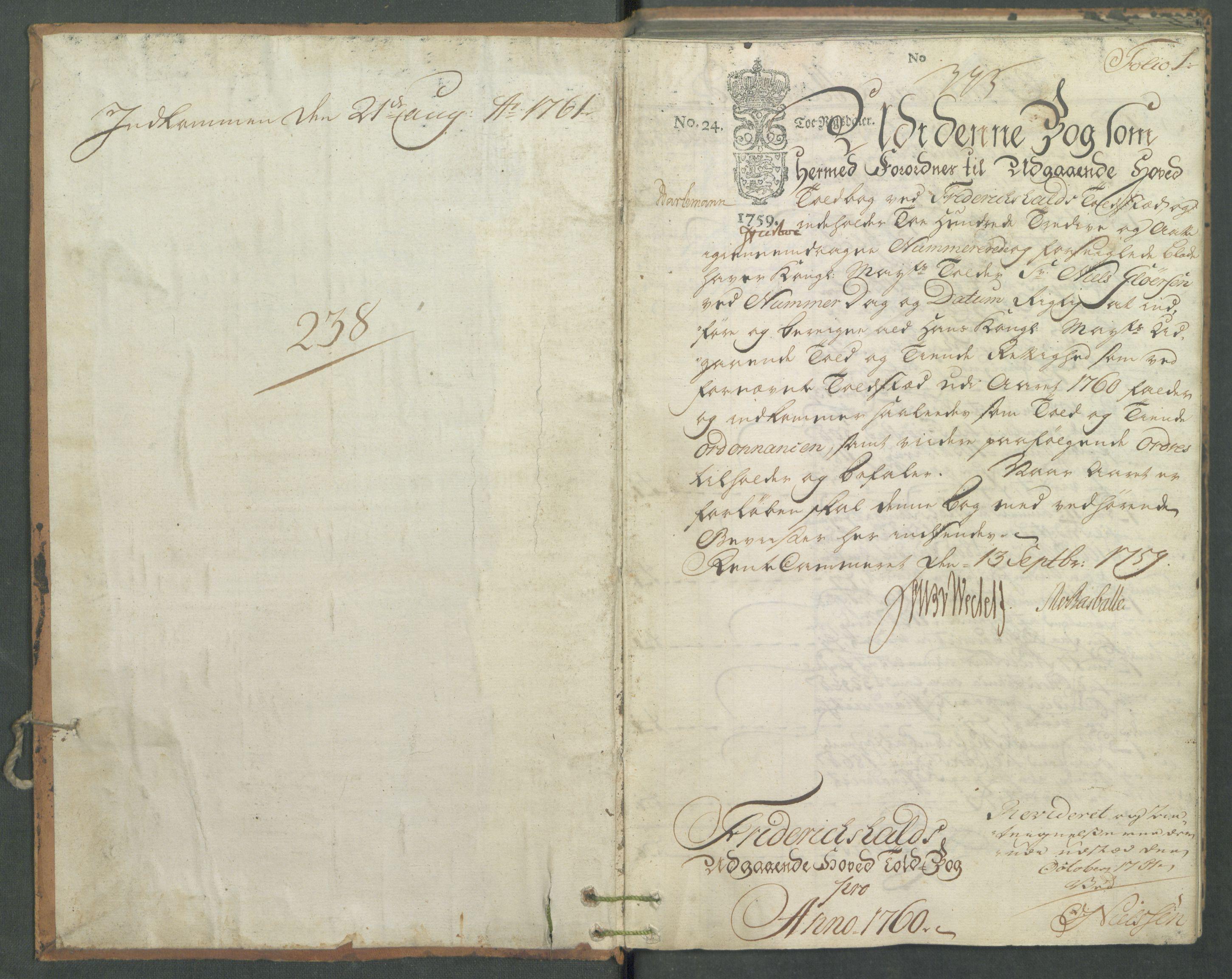 RA, Generaltollkammeret, tollregnskaper, R01/L0041: Tollregnskaper Fredrikshald, 1760