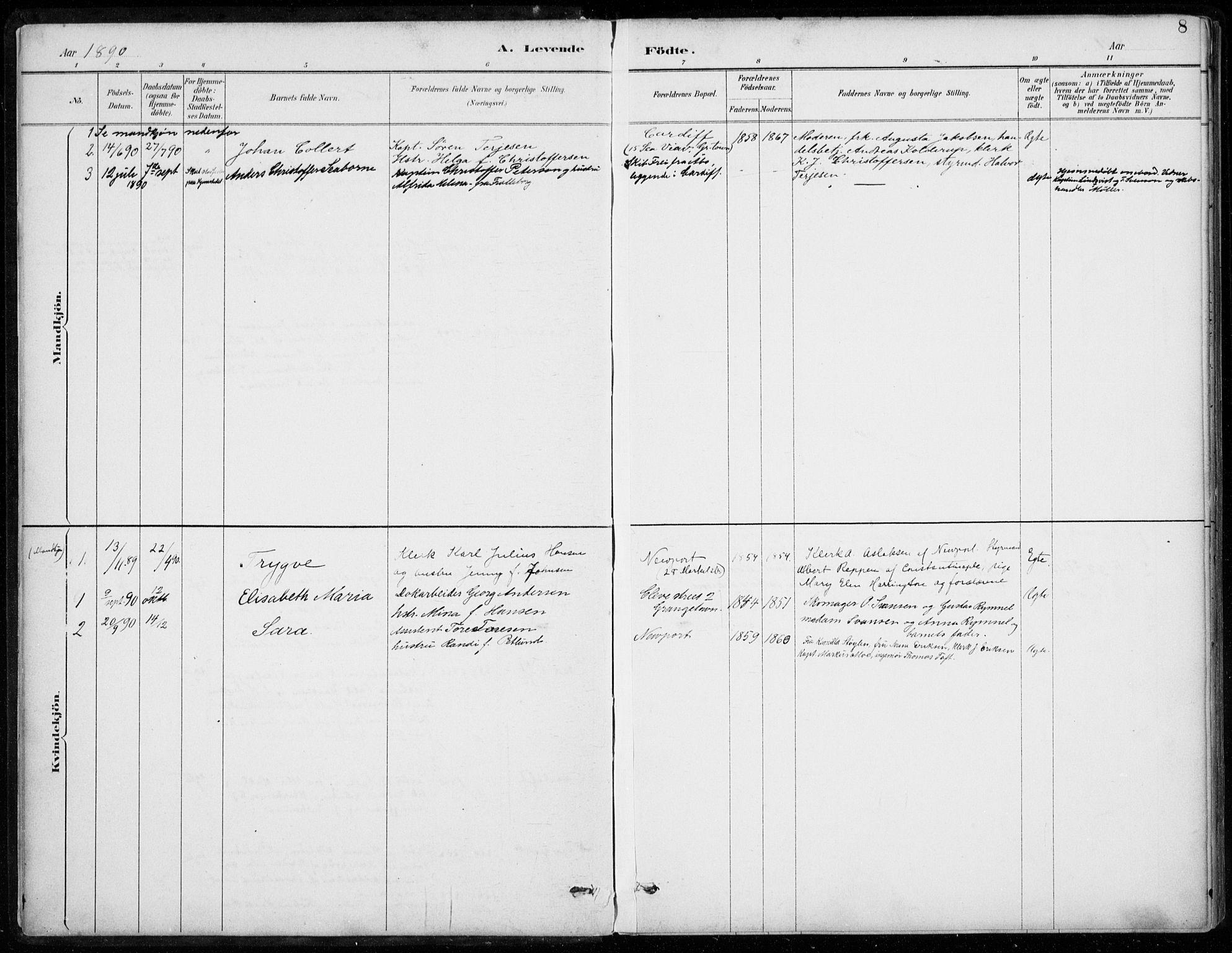 SAB, Den Norske Sjømannsmisjon i utlandet*, Ministerialbok nr. A 2, 1887-1932, s. 8