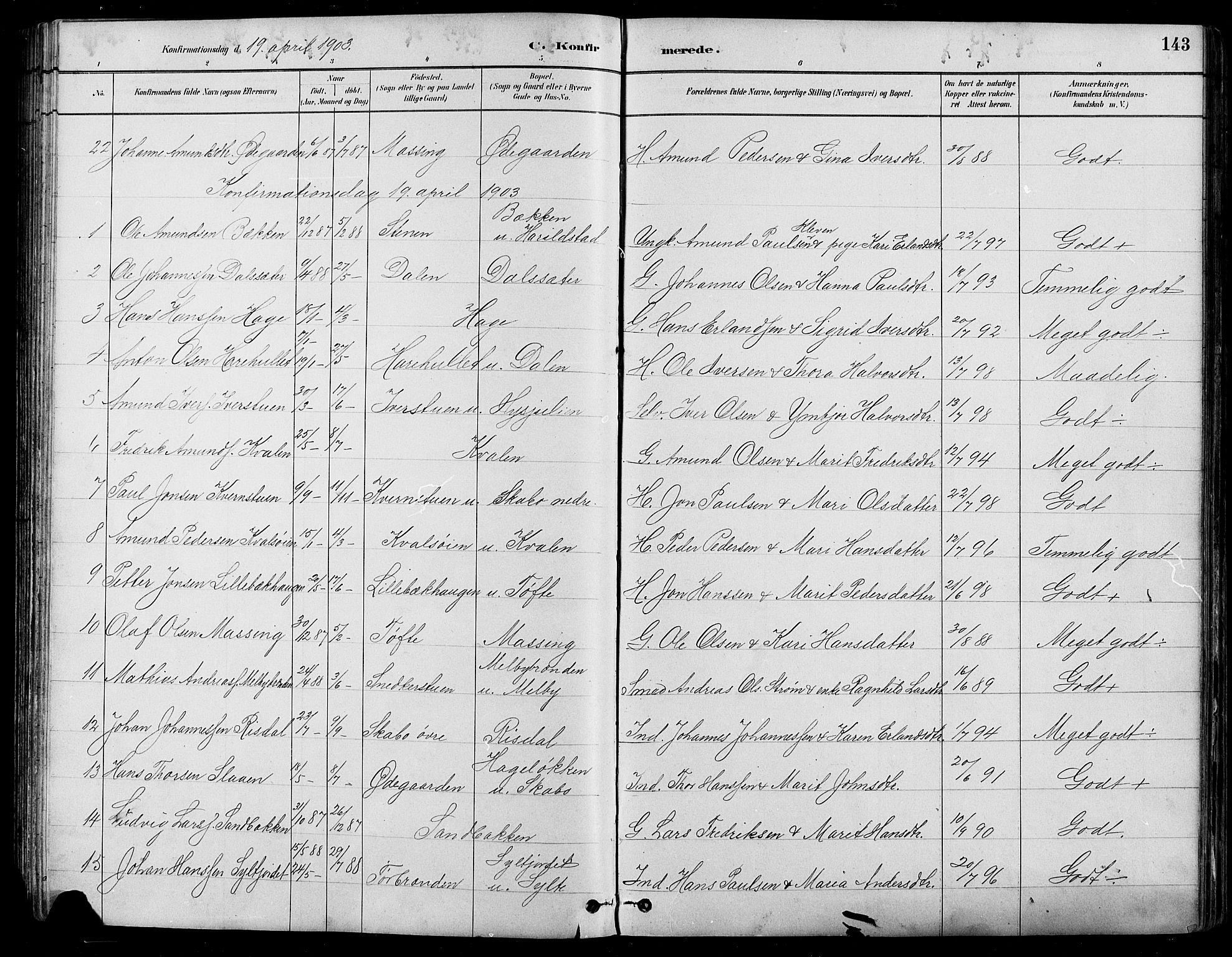 SAH, Nord-Fron prestekontor, Klokkerbok nr. 5, 1884-1914, s. 143