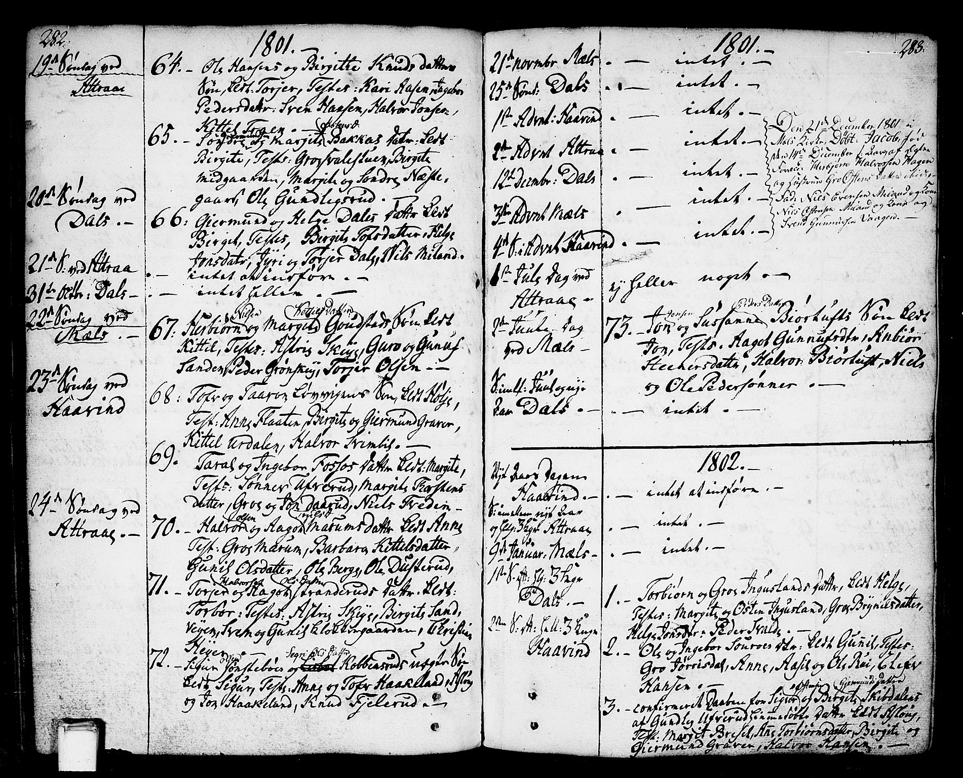 SAKO, Tinn kirkebøker, F/Fa/L0002: Ministerialbok nr. I 2, 1757-1810, s. 282-283
