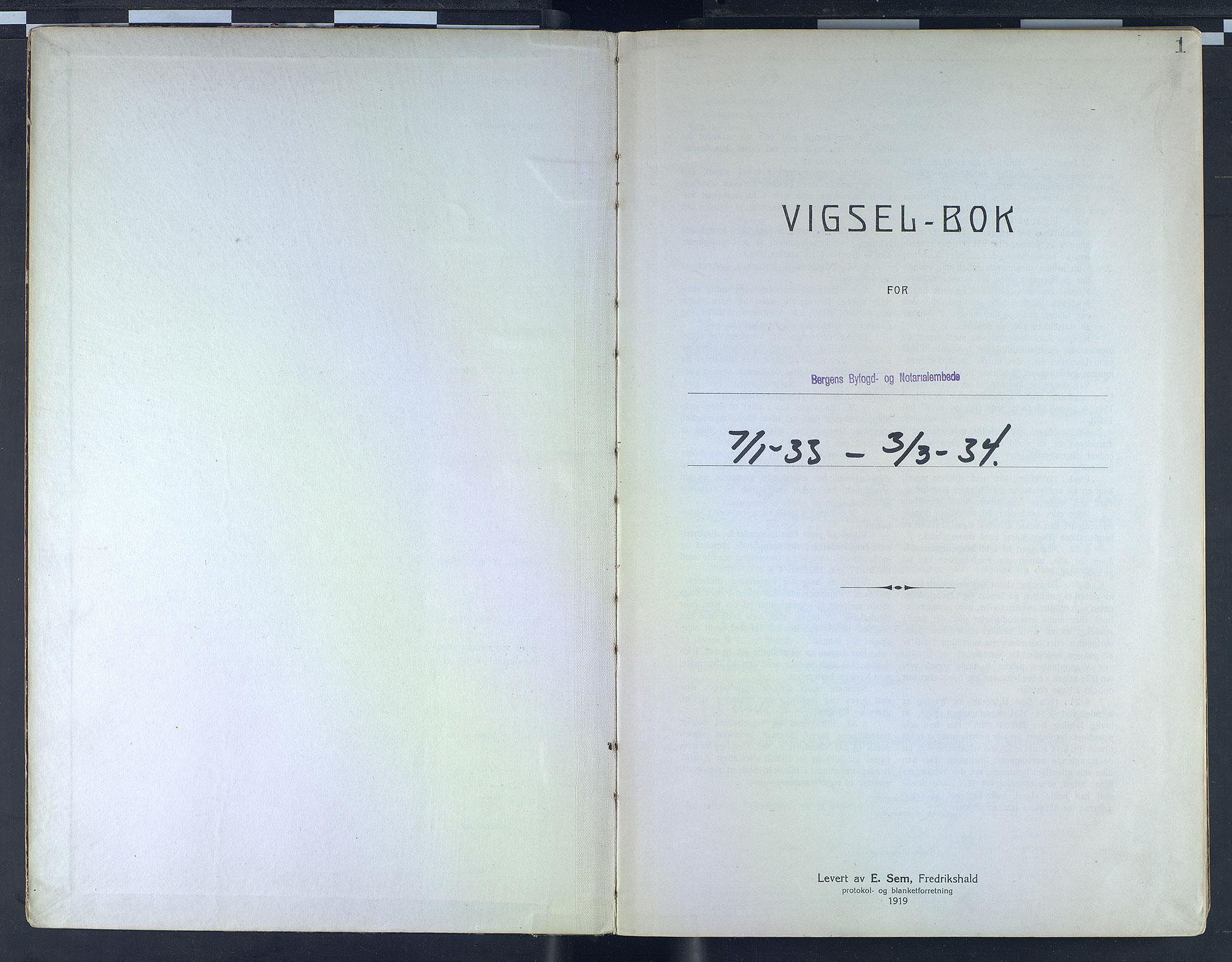 SAB, Bergen byfogd og byskriver*, 1933-1934, s. 1a