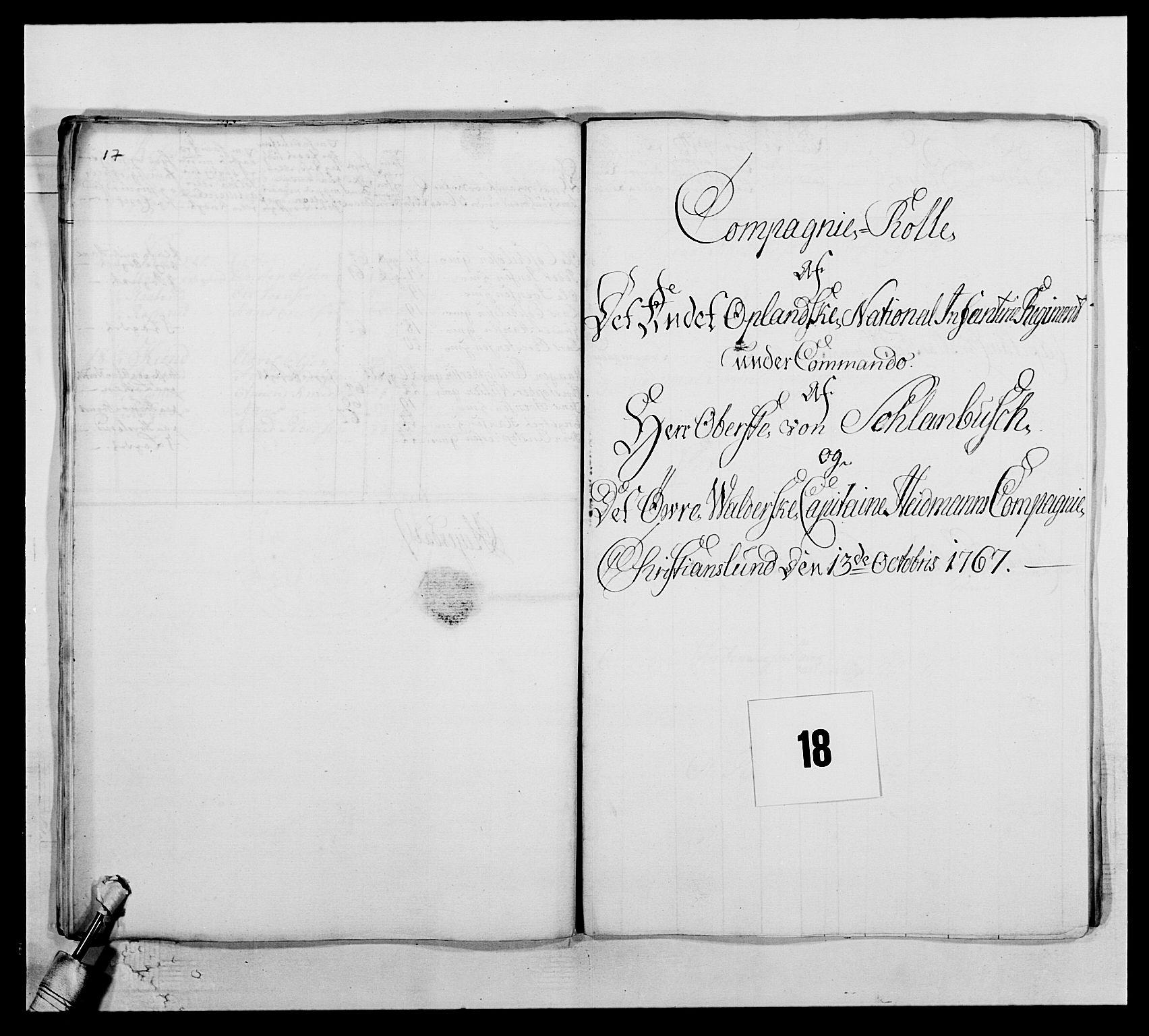 RA, Kommanderende general (KG I) med Det norske krigsdirektorium, E/Ea/L0507: 2. Opplandske regiment, 1766-1767, s. 396