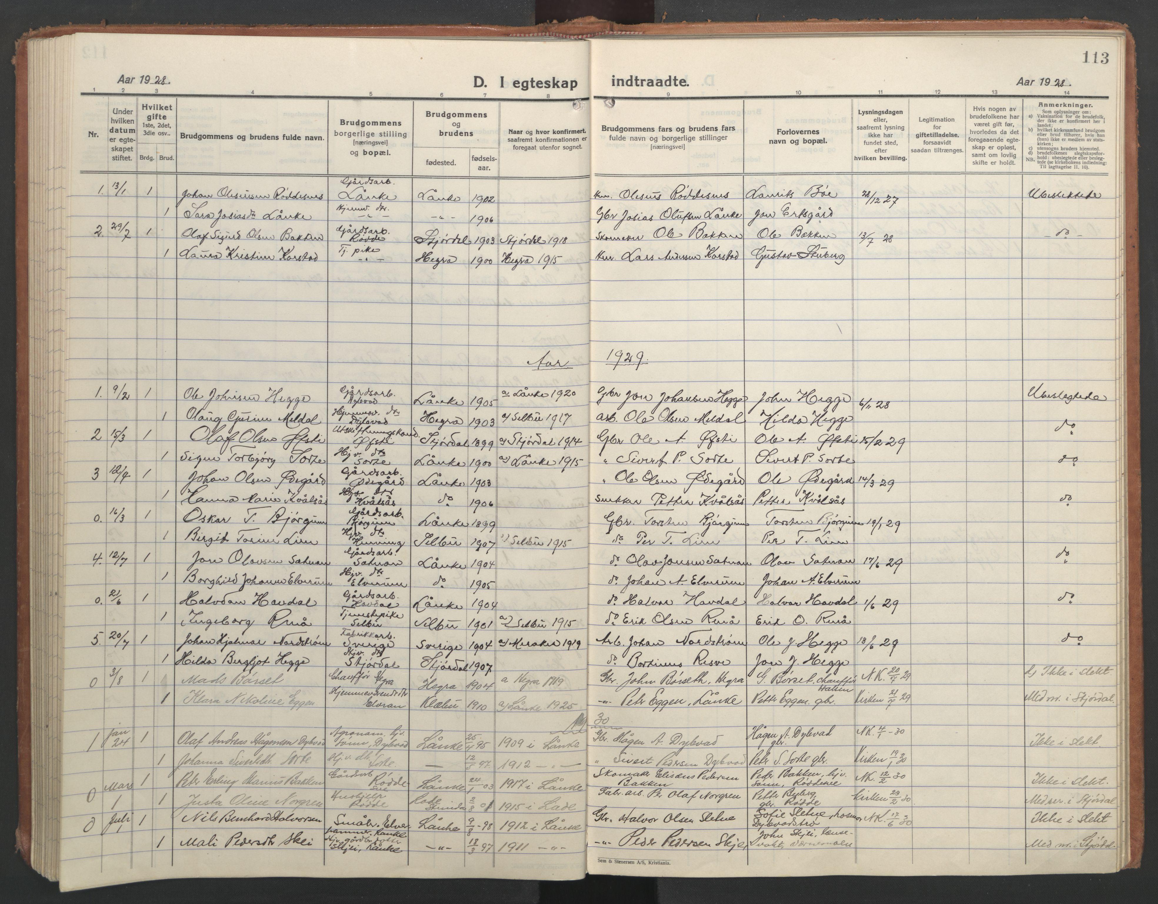 SAT, Ministerialprotokoller, klokkerbøker og fødselsregistre - Nord-Trøndelag, 710/L0097: Klokkerbok nr. 710C02, 1925-1955, s. 113