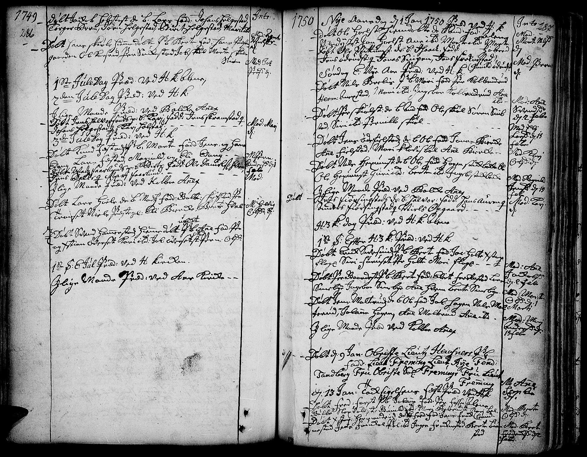 SAH, Toten prestekontor, Ministerialbok nr. 3, 1734-1751, s. 286-287