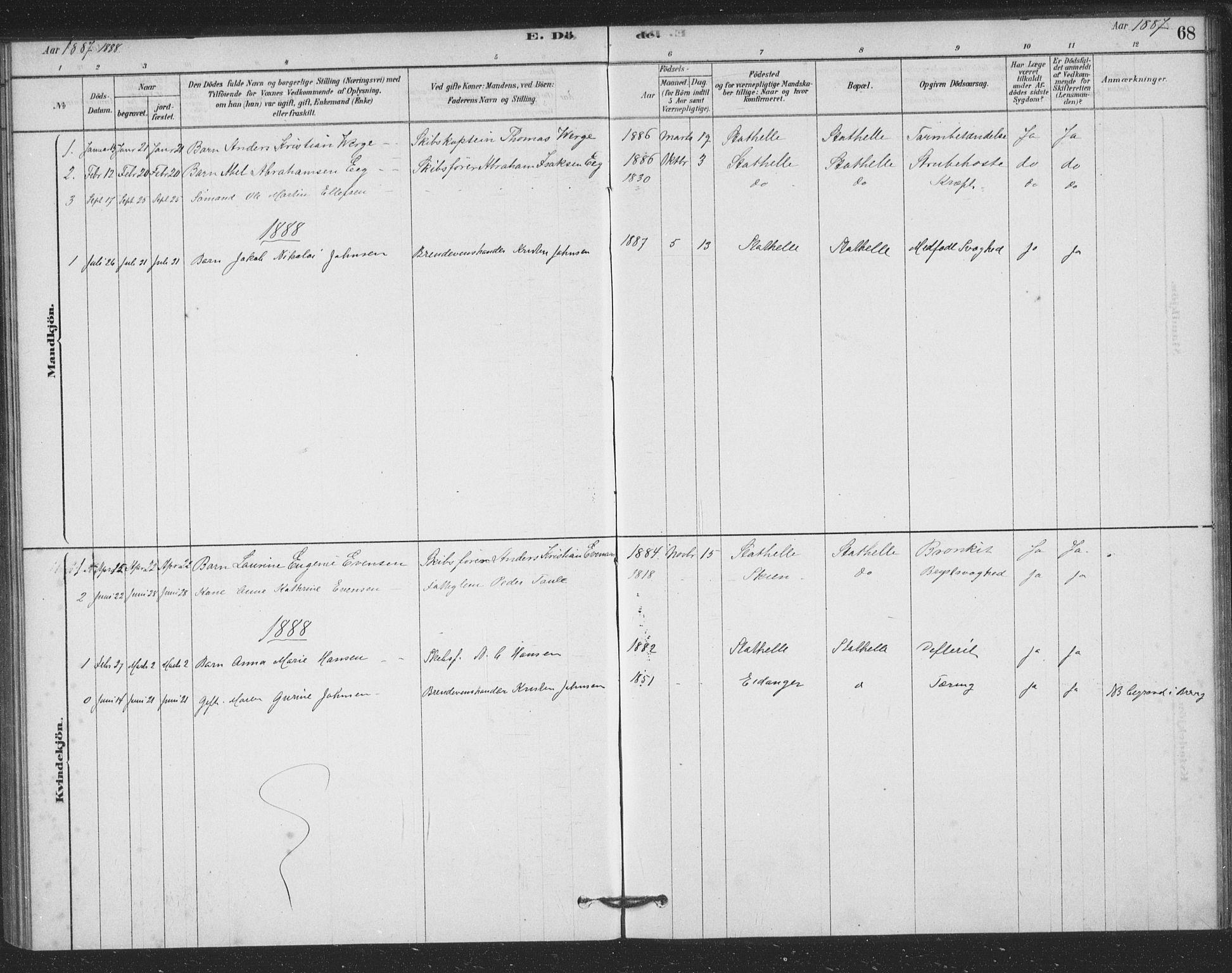 SAKO, Bamble kirkebøker, F/Fb/L0001: Ministerialbok nr. II 1, 1878-1899, s. 68