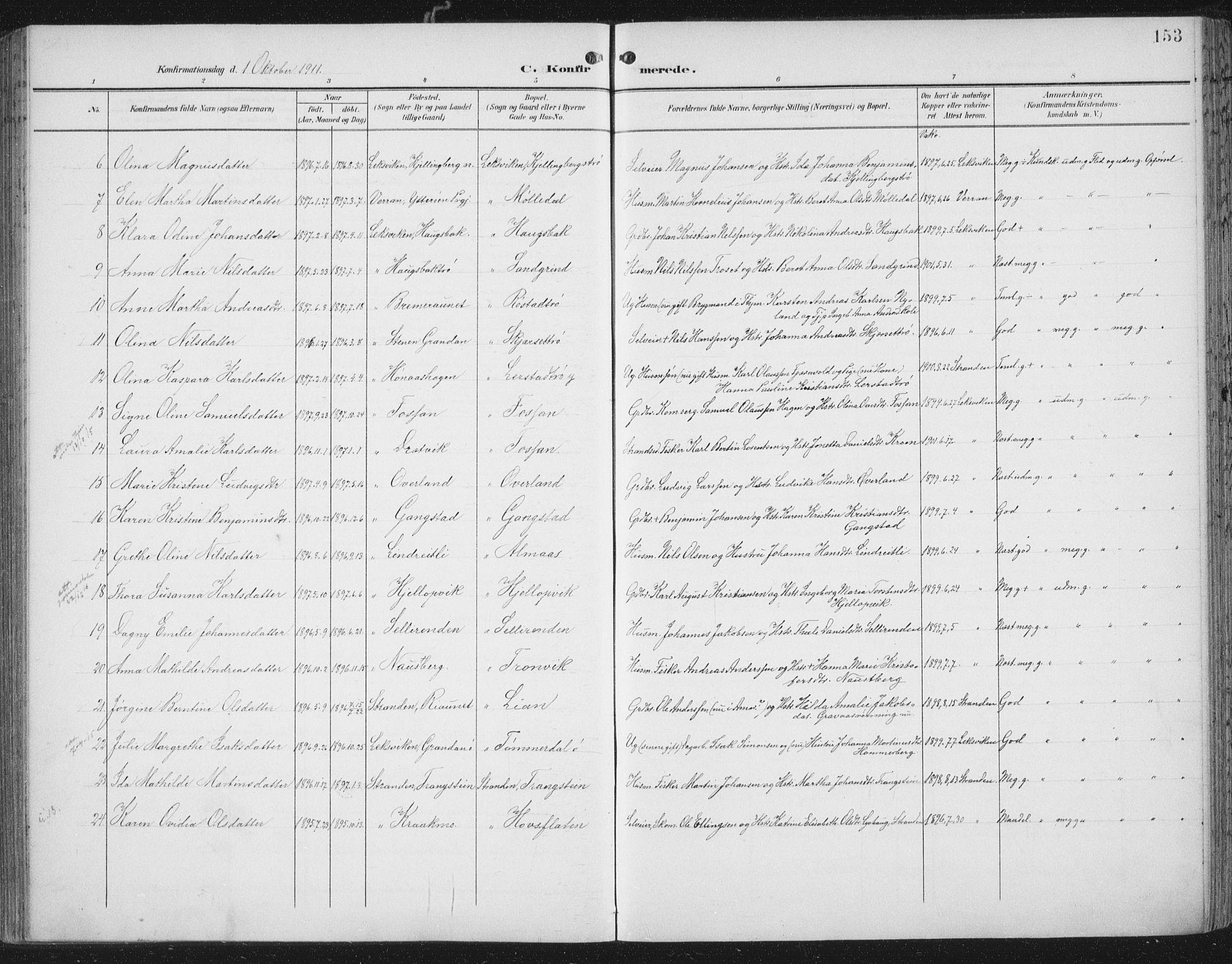 SAT, Ministerialprotokoller, klokkerbøker og fødselsregistre - Nord-Trøndelag, 701/L0011: Ministerialbok nr. 701A11, 1899-1915, s. 153
