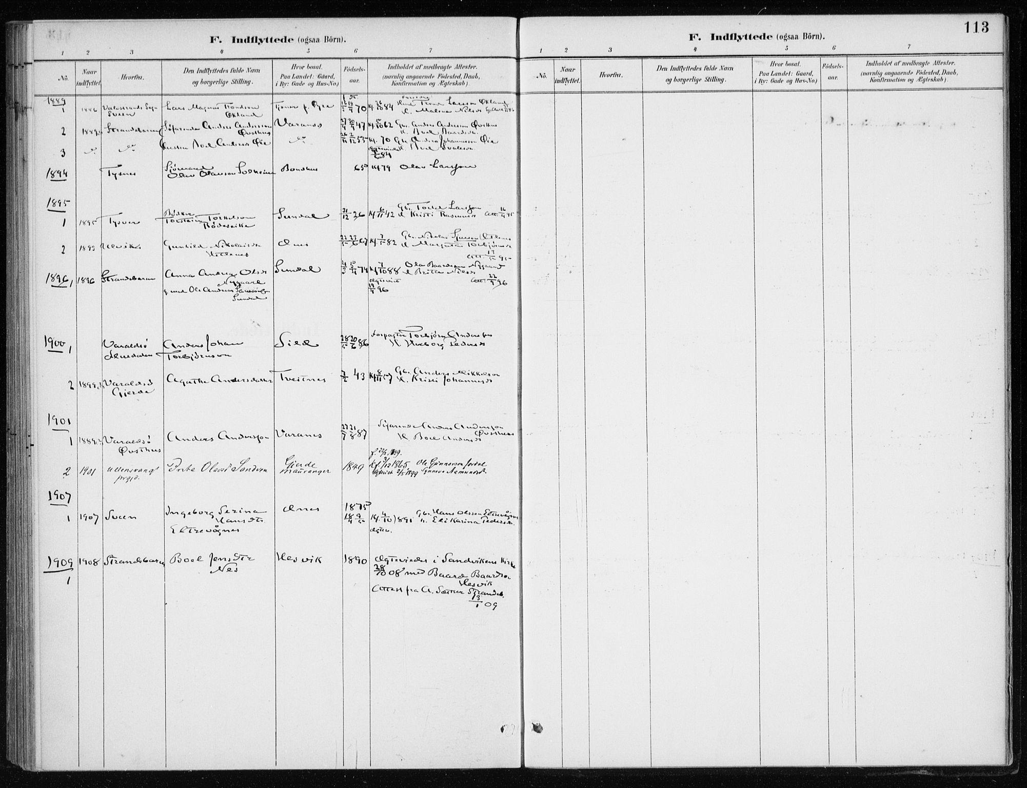 SAB, Kvinnherad Sokneprestembete, H/Haa: Ministerialbok nr. F 1, 1887-1912, s. 113