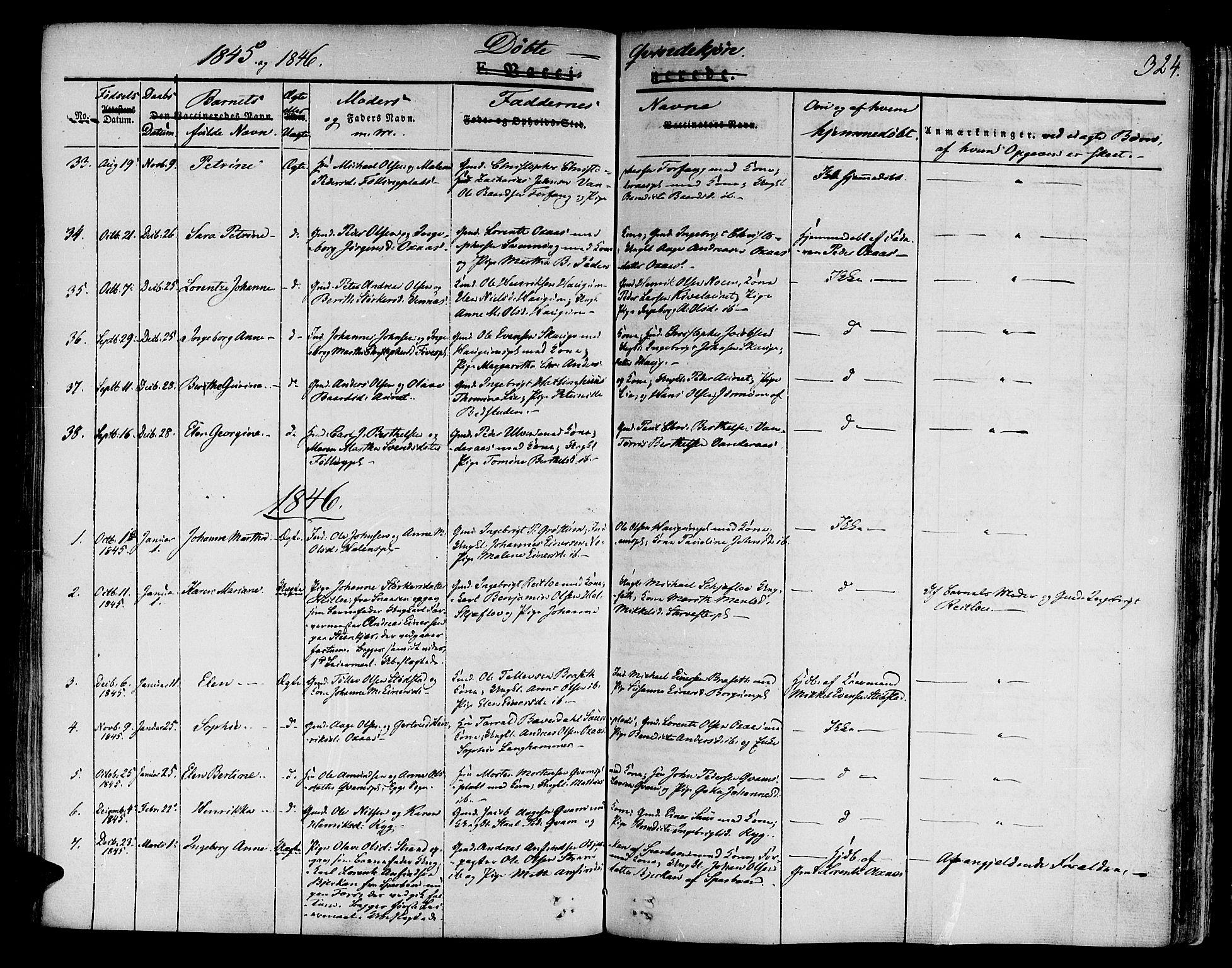 SAT, Ministerialprotokoller, klokkerbøker og fødselsregistre - Nord-Trøndelag, 746/L0445: Ministerialbok nr. 746A04, 1826-1846, s. 324