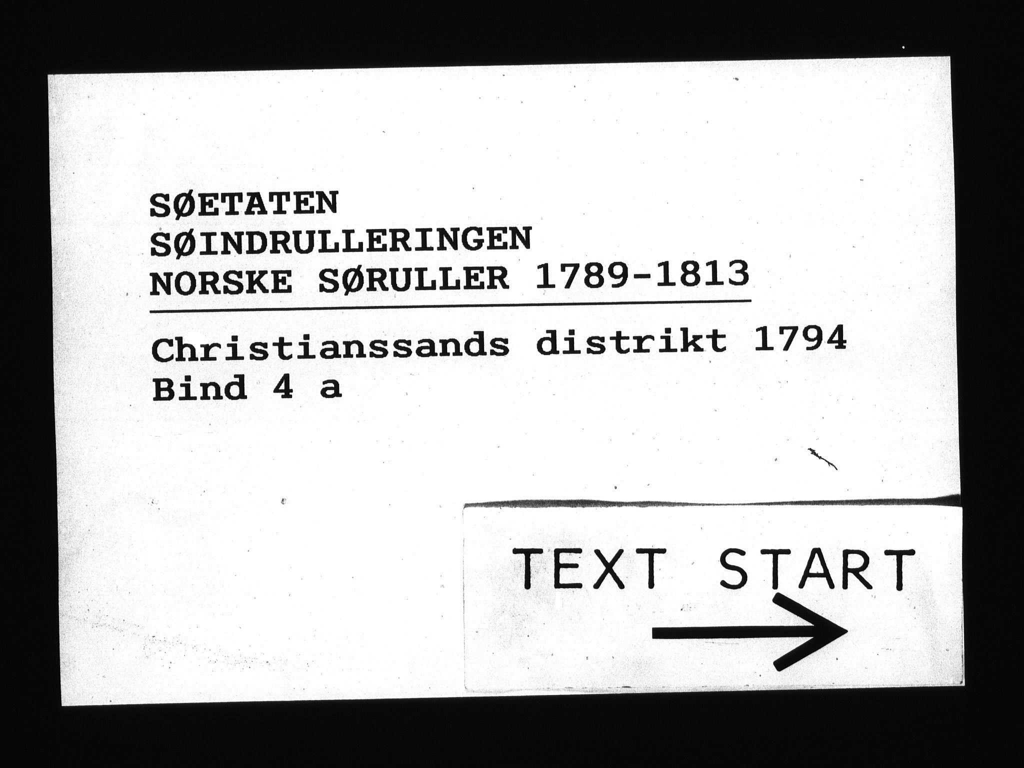 RA, Sjøetaten, F/L0020: Kristiansand distrikt, bind 4a, 1794